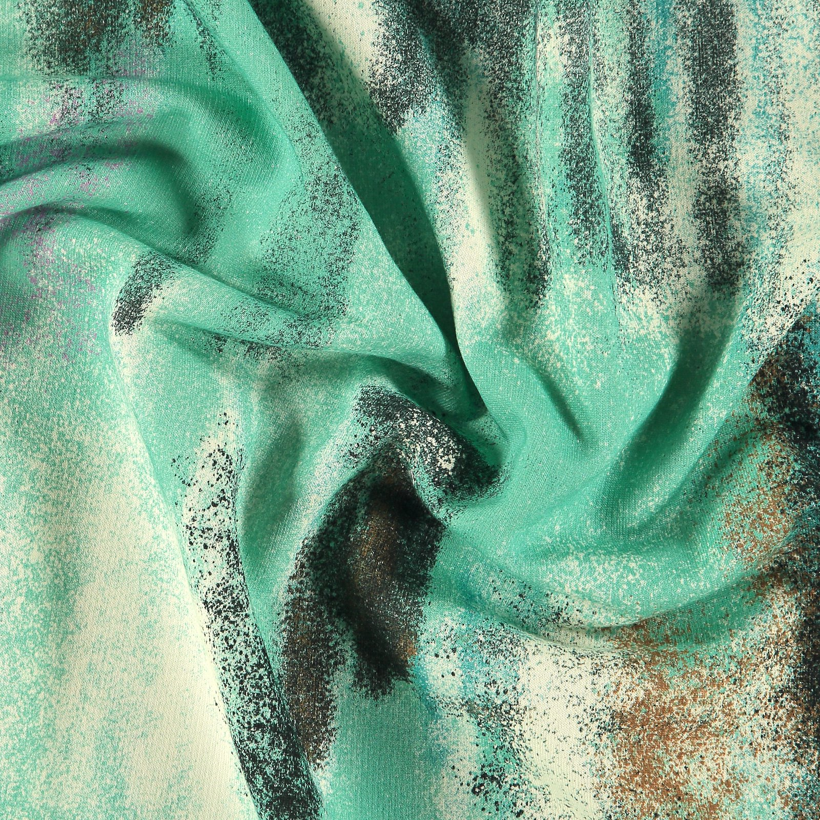 French Terry, Jadegrün mit Batikprint