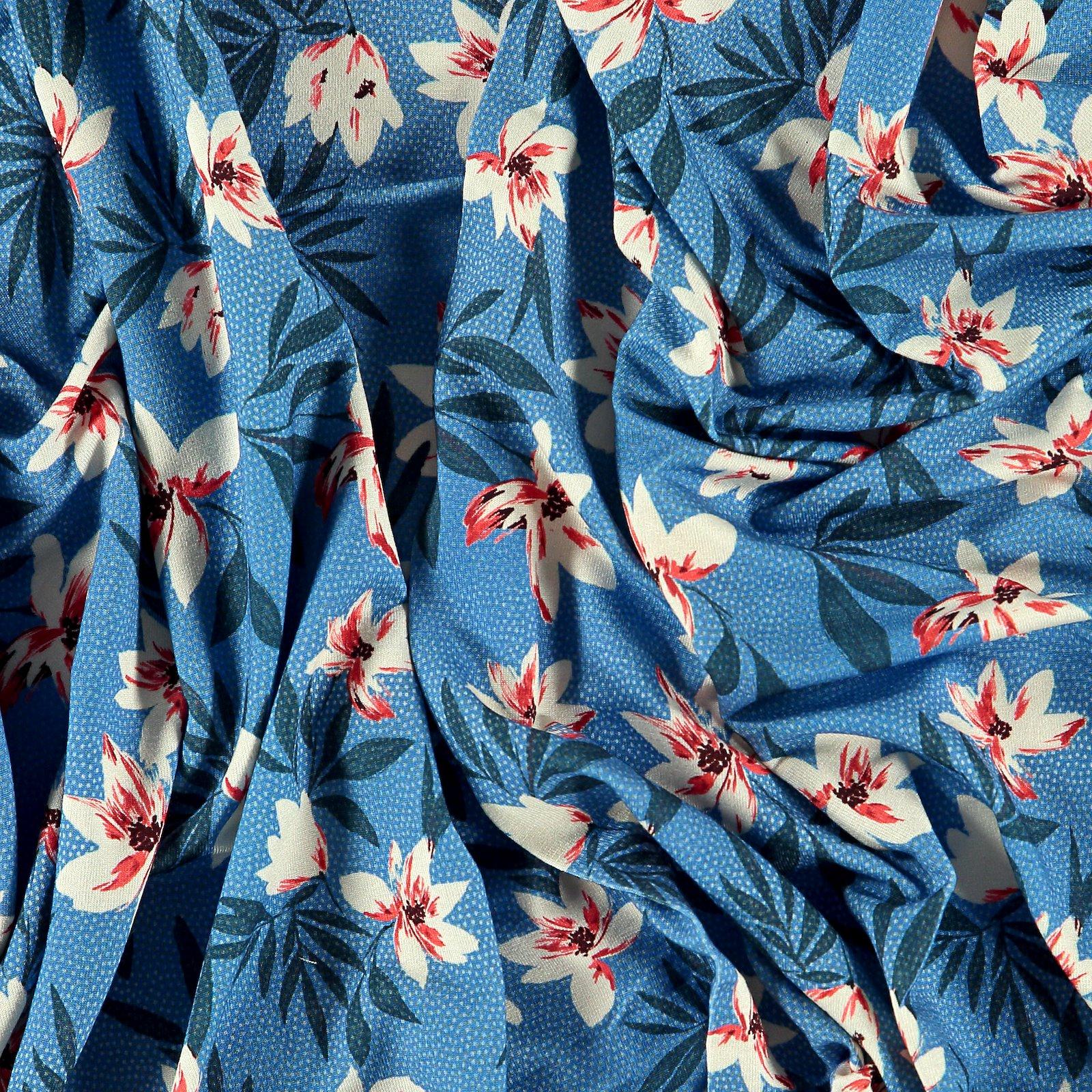Viscose stretch jersey blue w dot/flower