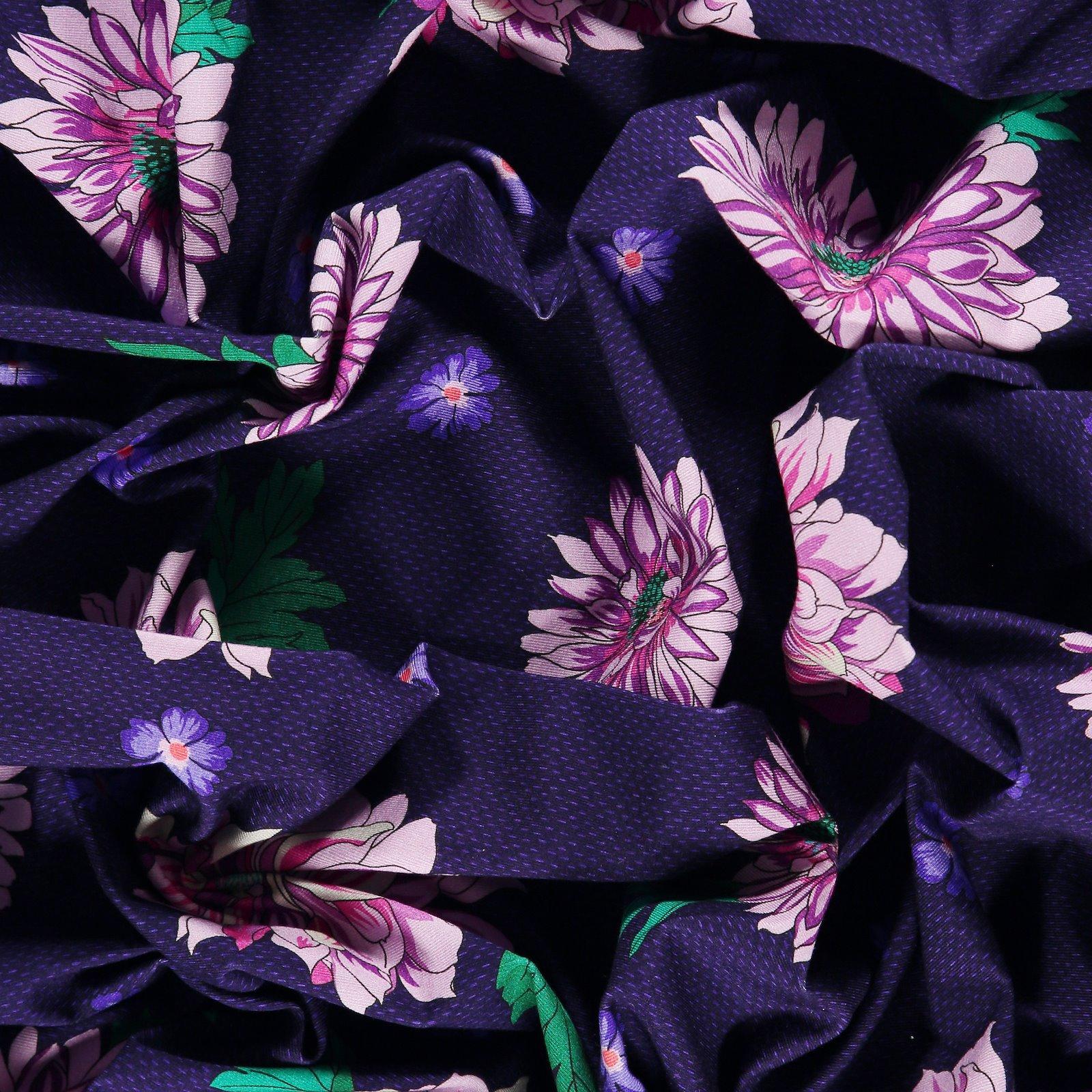 Viscose stretch jersey navy with flower