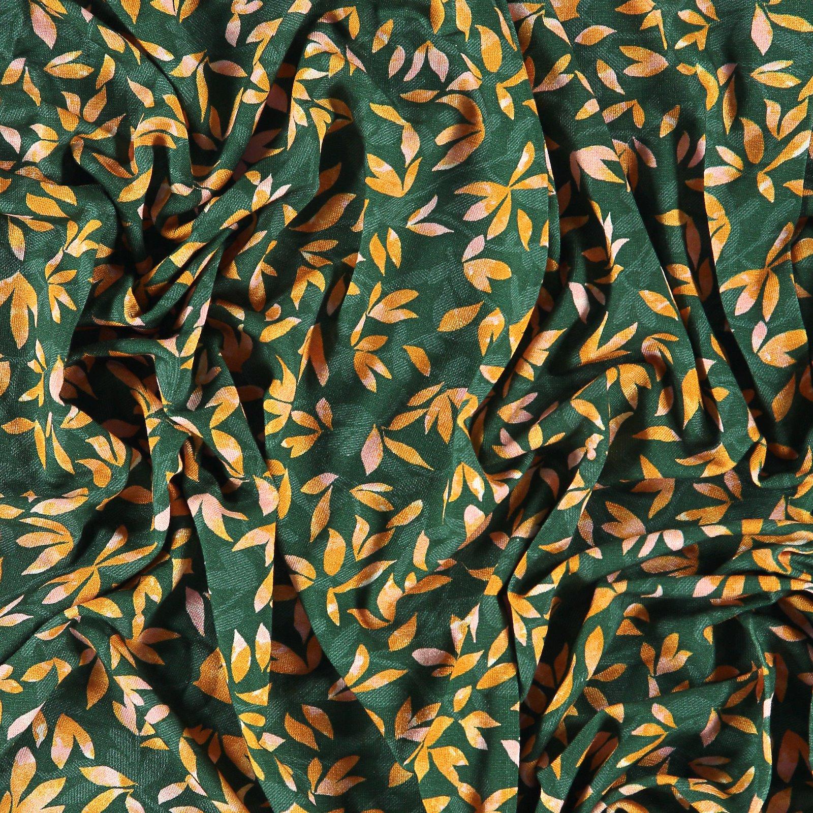 Viscose stretch jersey dark green w leaf