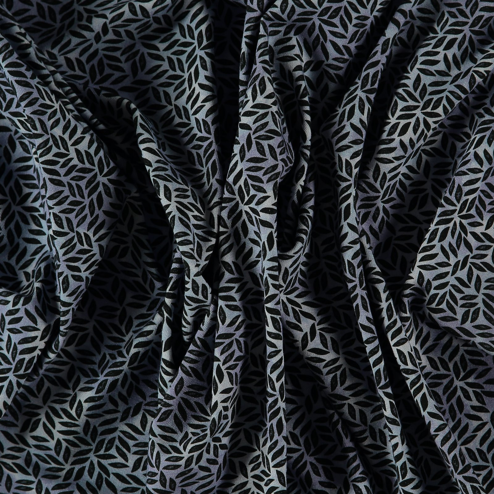 Viscose stretch jersey blue with leaves
