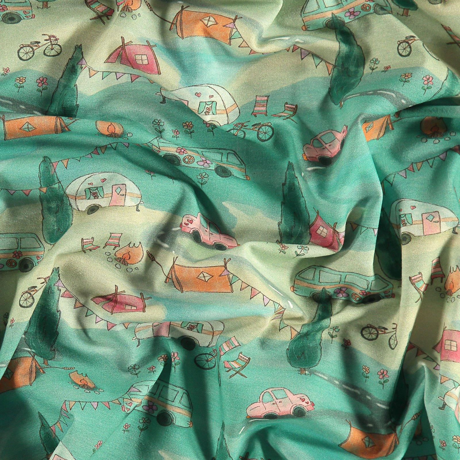 Organic stretch jersey w camping print