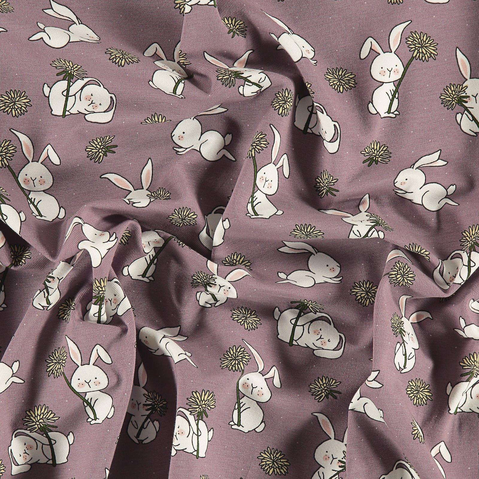 Organic stretch jersey purple w rabbits