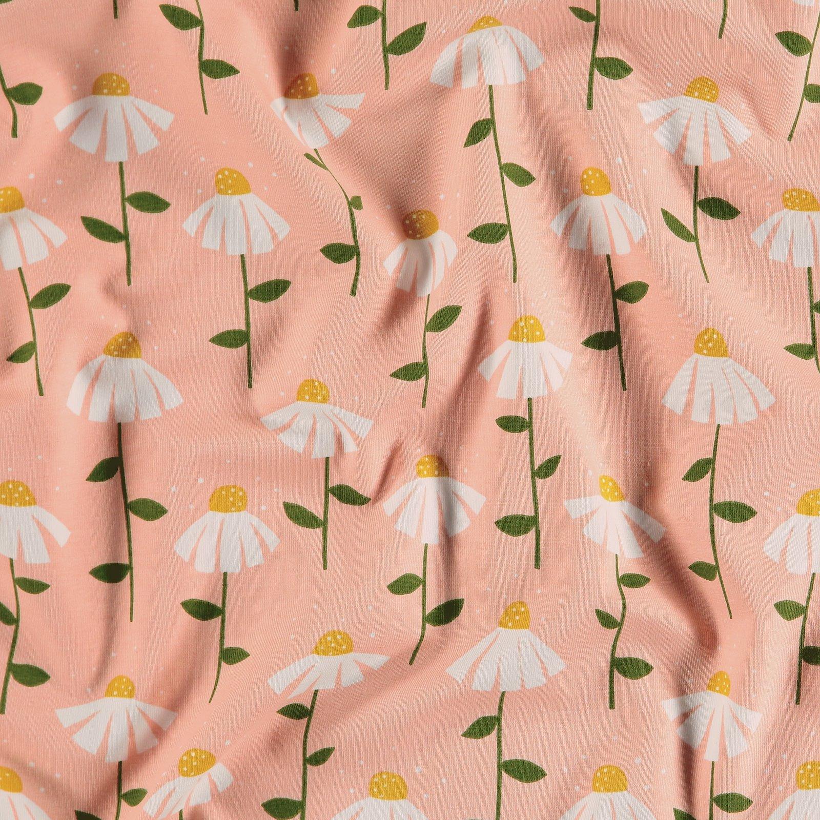 Organic stretch jersey pink w flowers