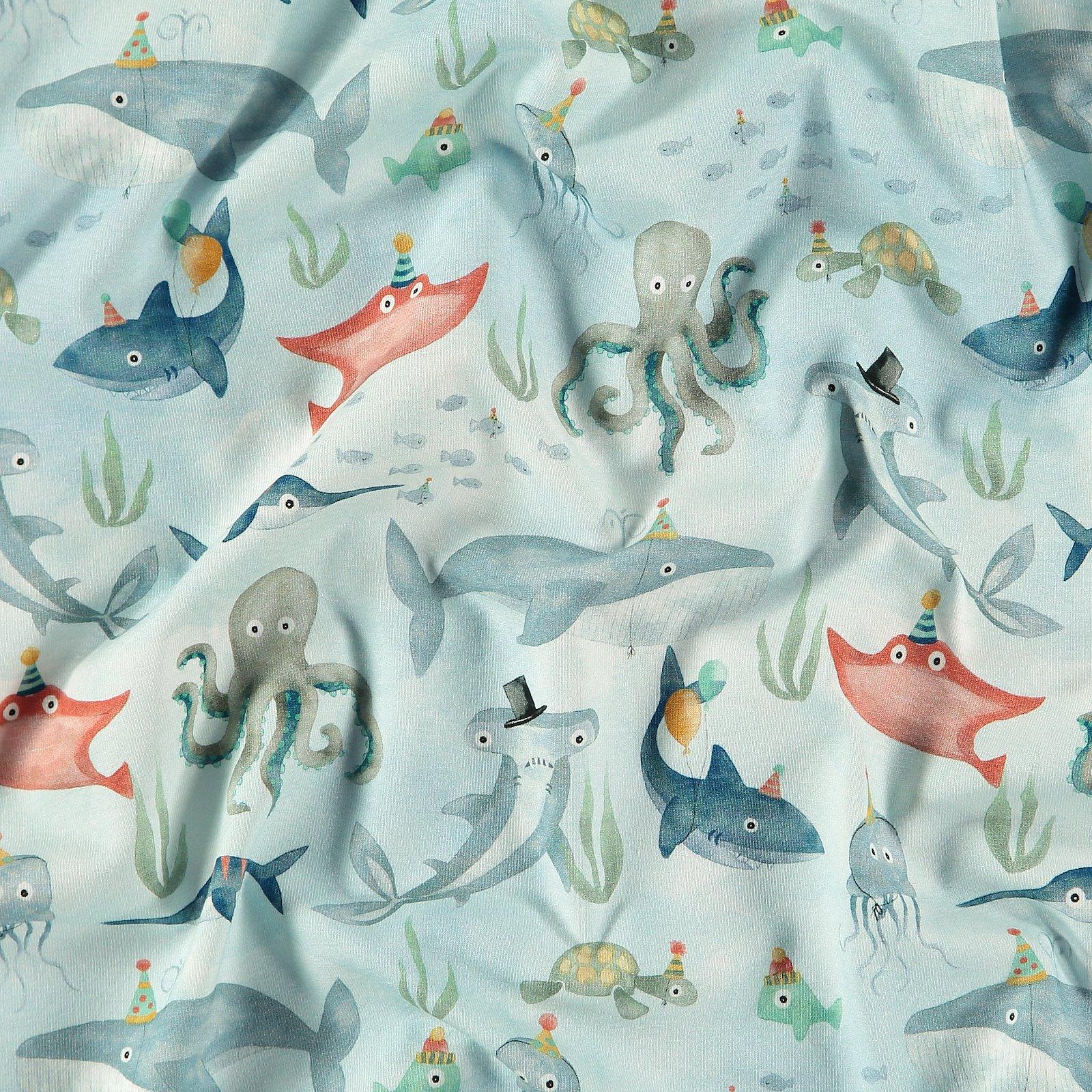 Organic st jersey blue with sea animals