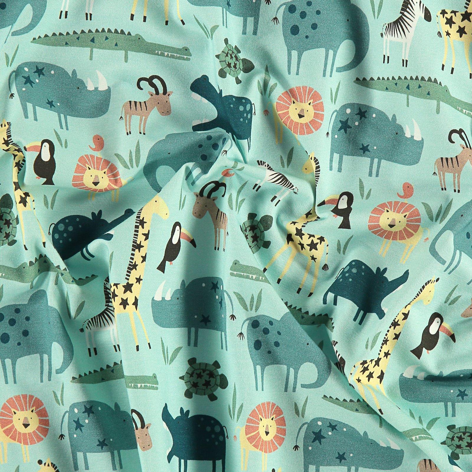 Organic stretch jersey mint w animals