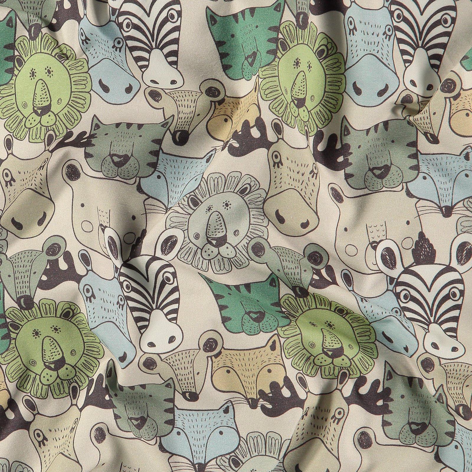 Organic stretch jersey putty w animals