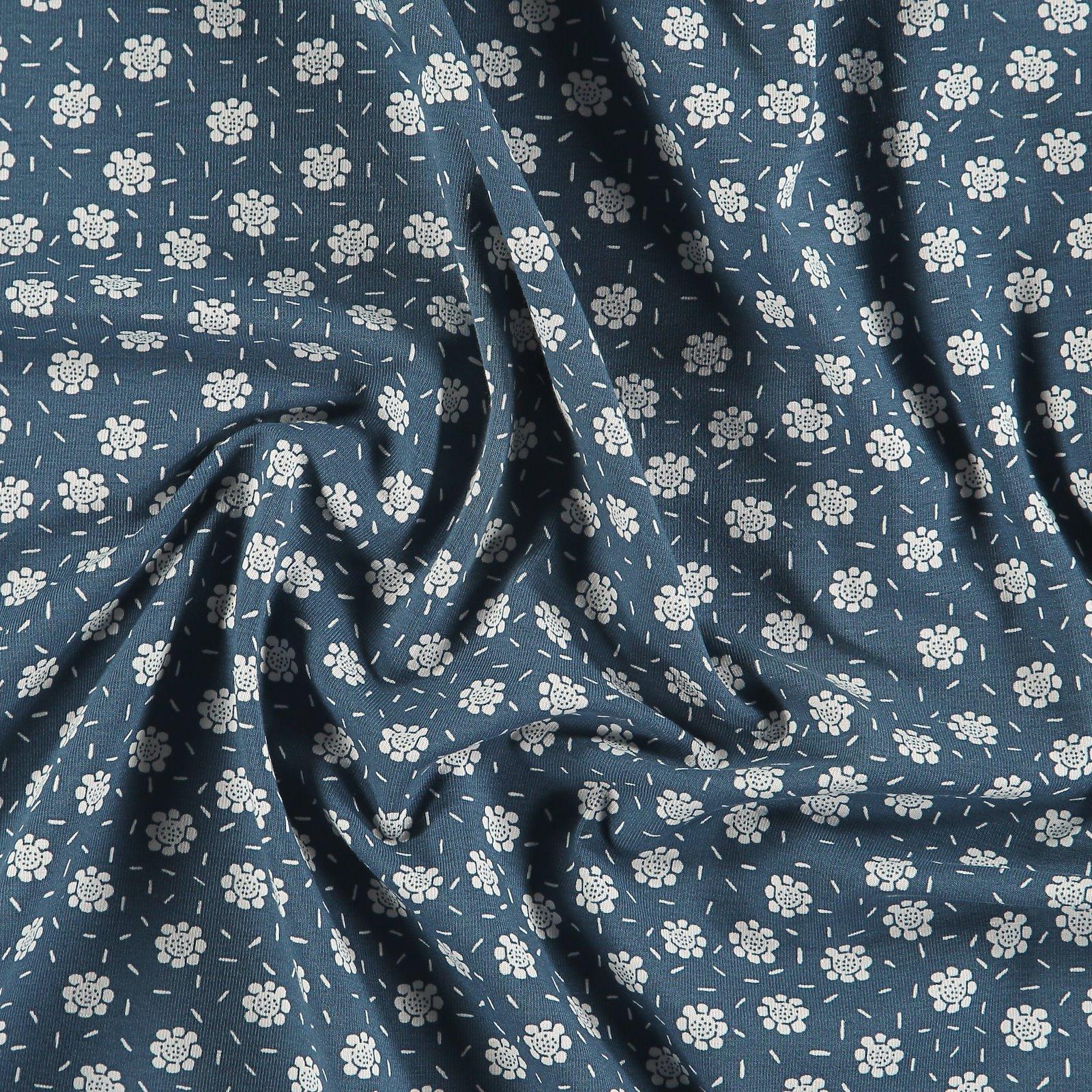 Organic st jersey dusty blue w flowers