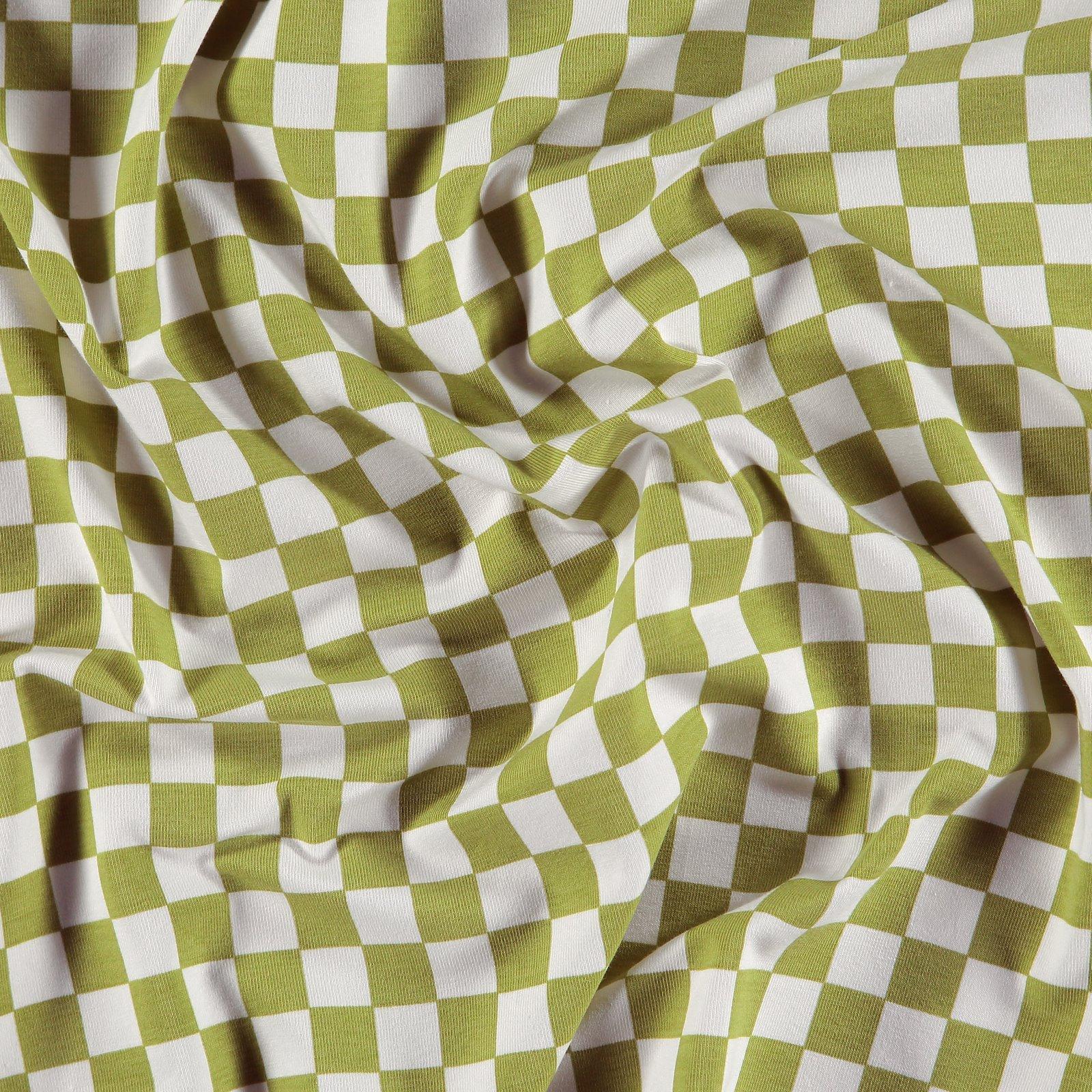 Organic str jersey w lime/offwhite check