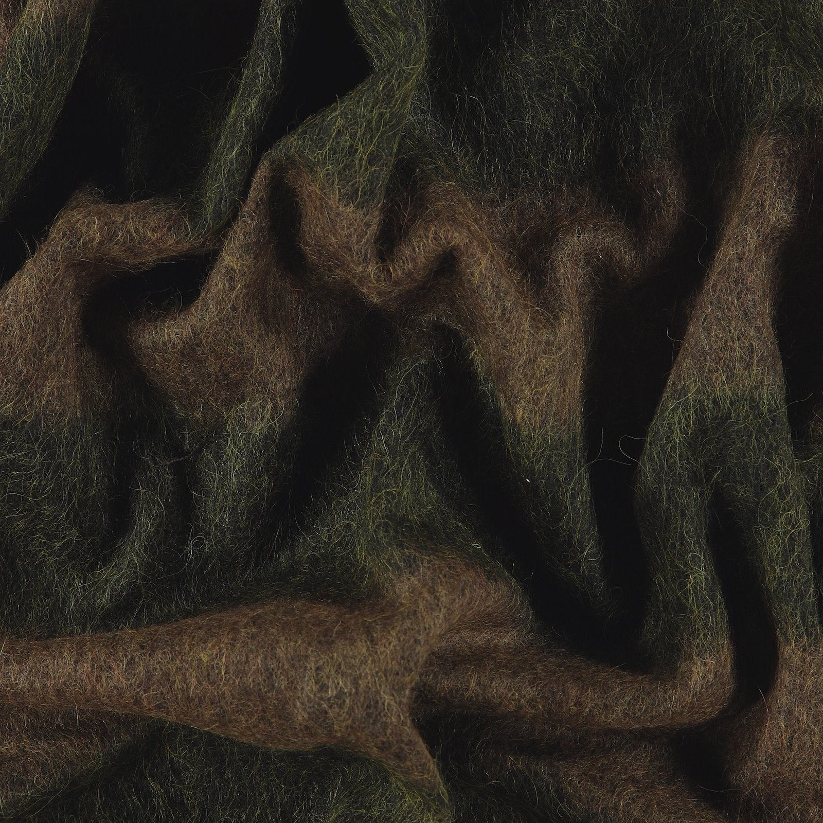 Woven wool brown/green block stripe