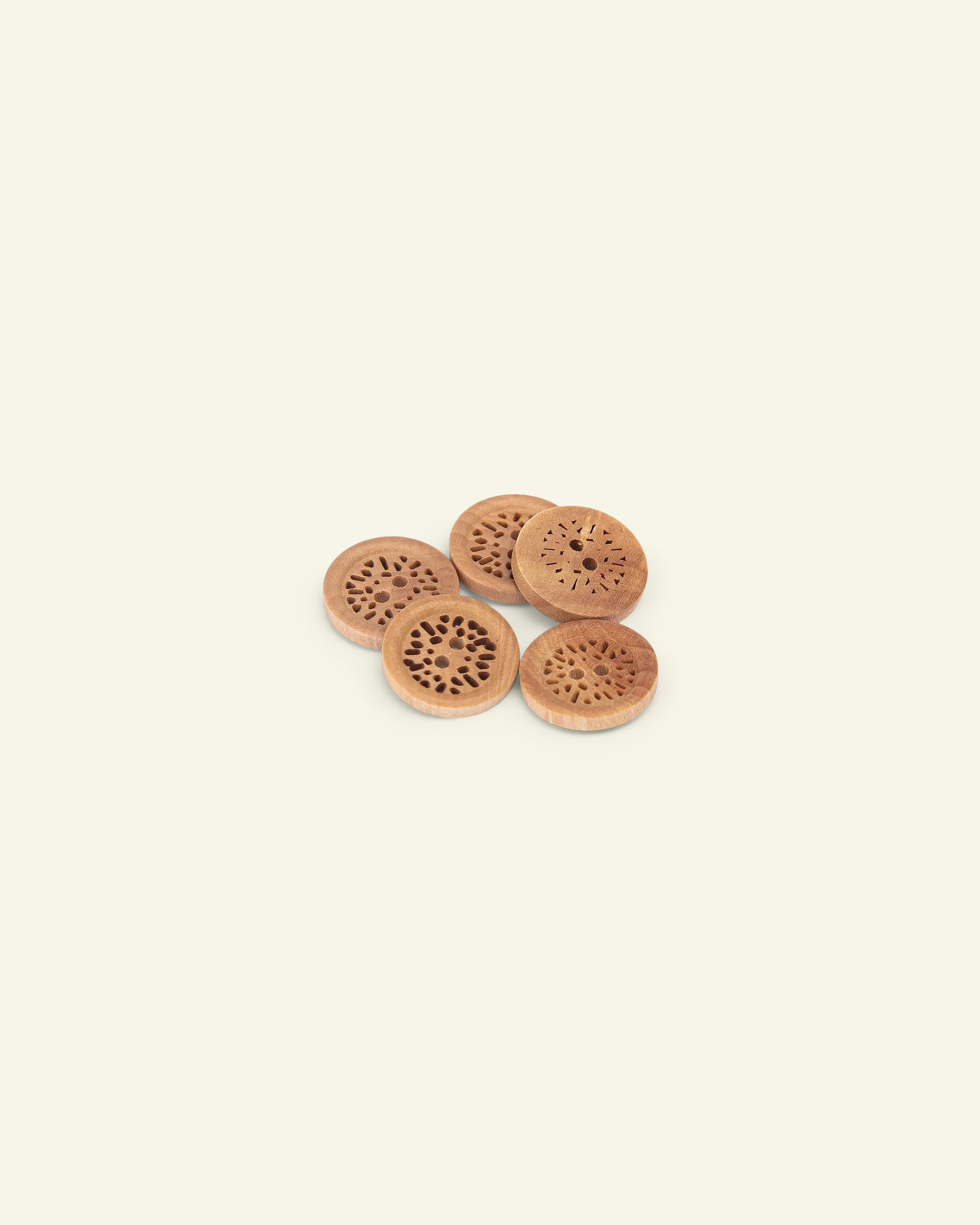 Button 2-holes wood carved w/rim 24mm 5p