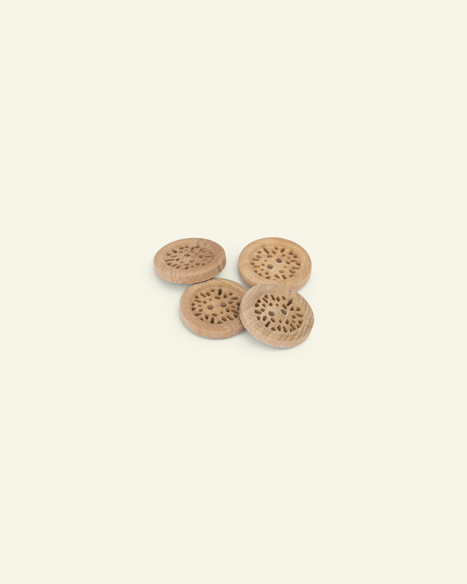 Button 2-holes wood carved w/rim 28mm 4p