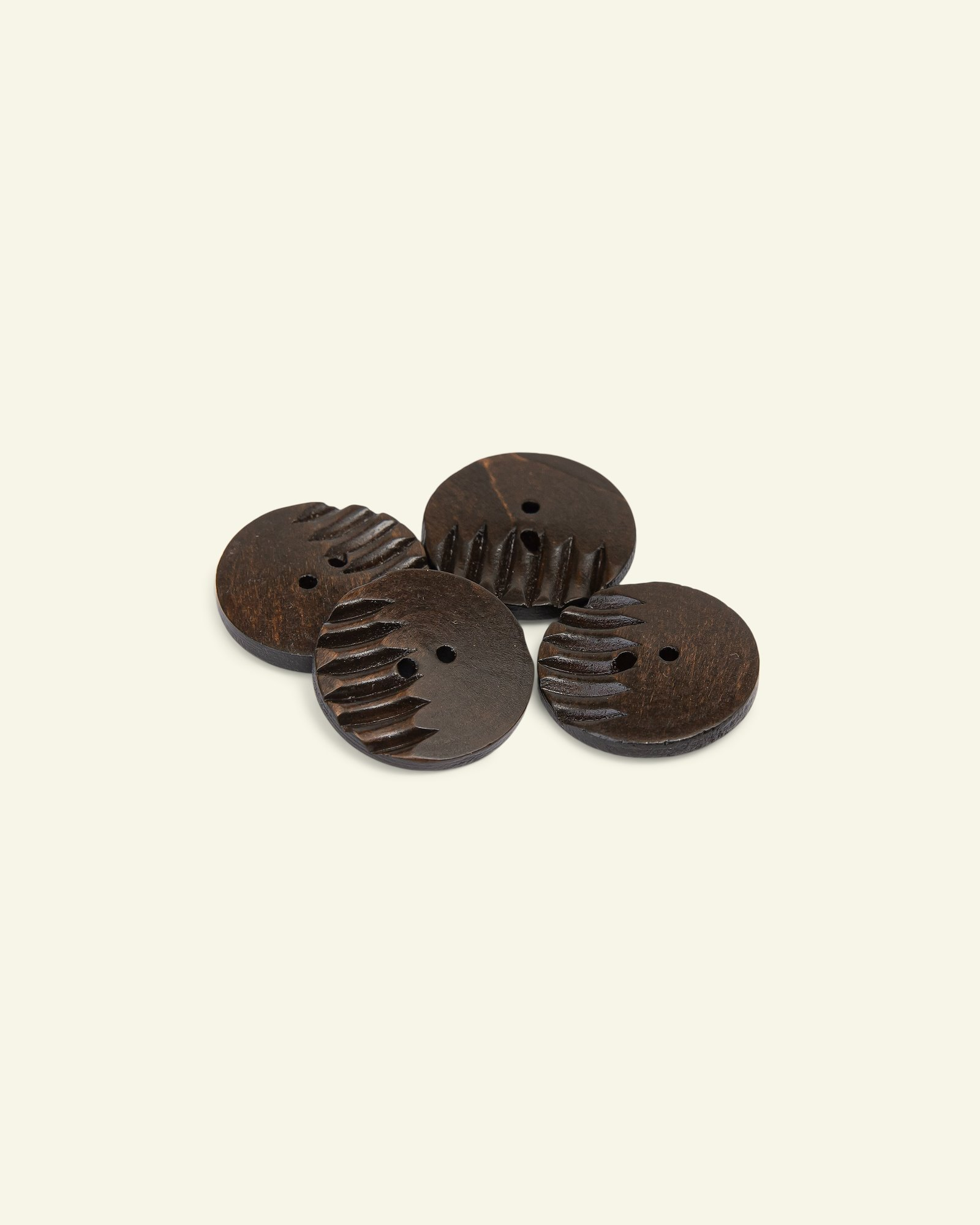 Button 2-holes grooved 40mm brown 4pcs