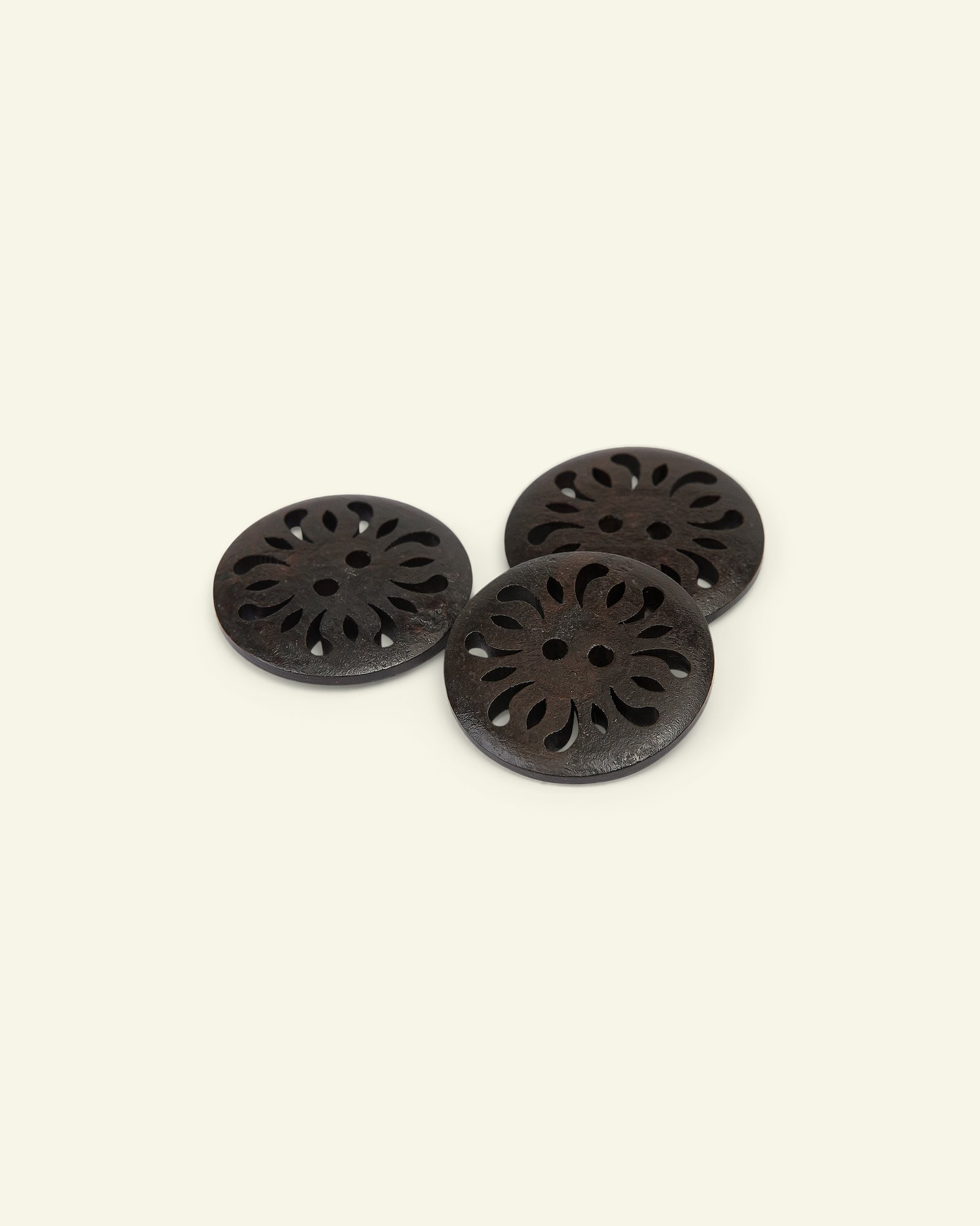 Button 2-holes engraved 48mm brown 3pcs