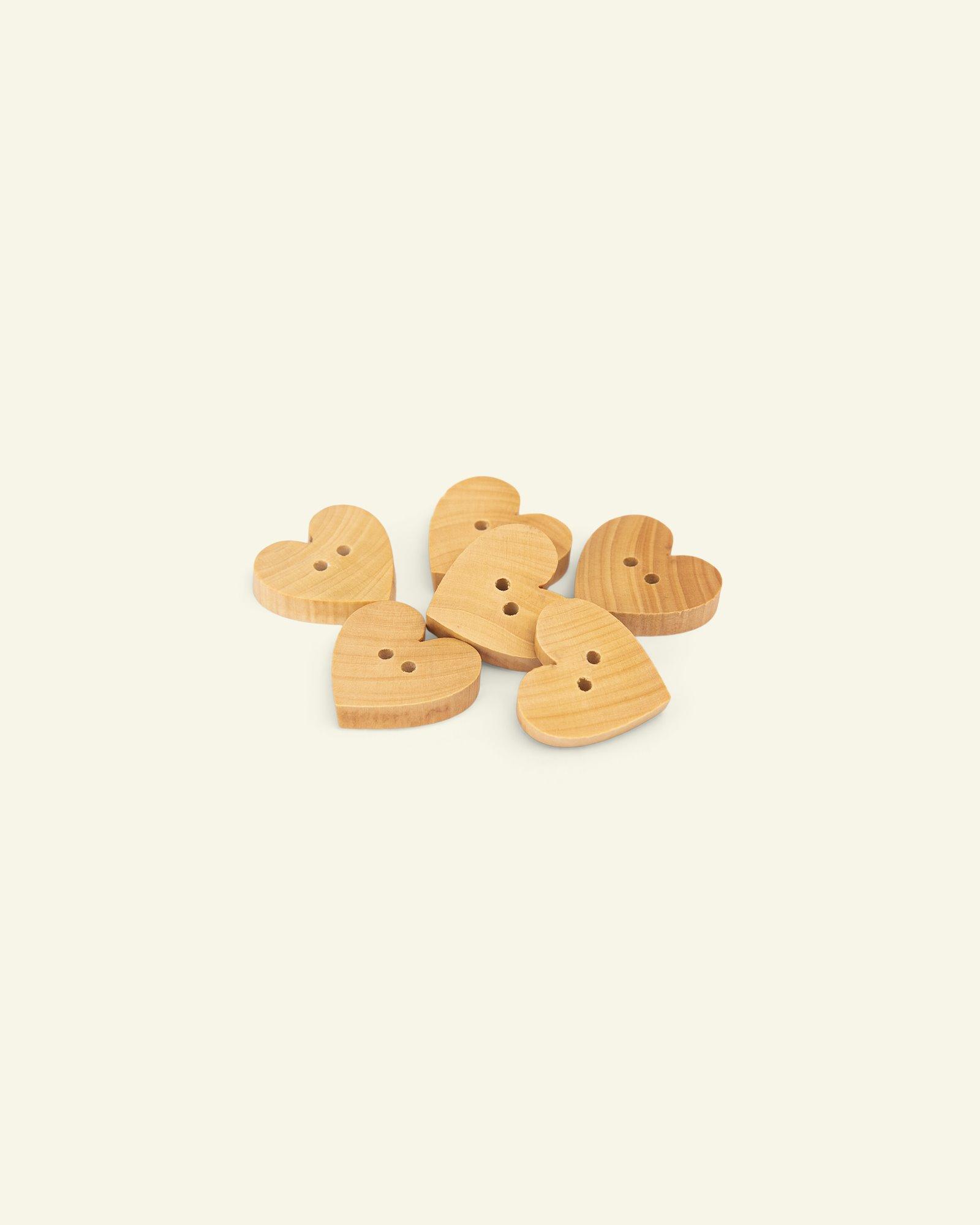 Button 2-holes wood heart 18mm 6pcs