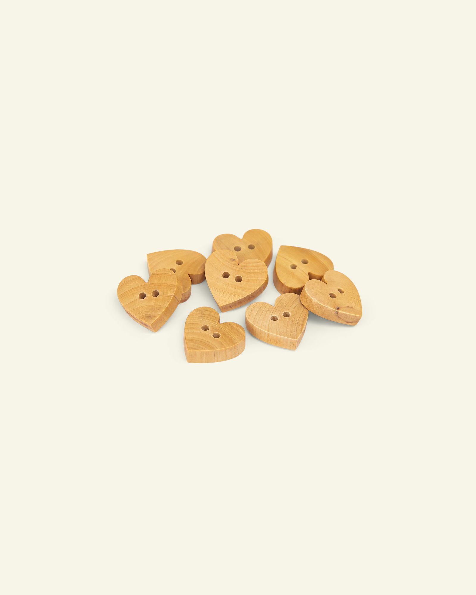 Button 2-holes wood heart 13mm 8pcs