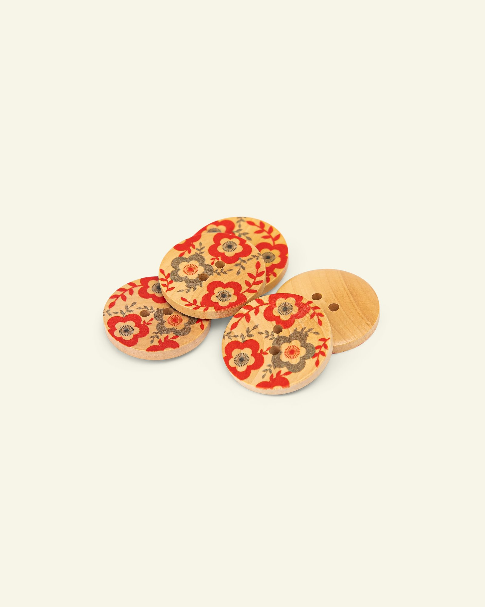 Button 2-holes wood flower 25mm red 5pcs