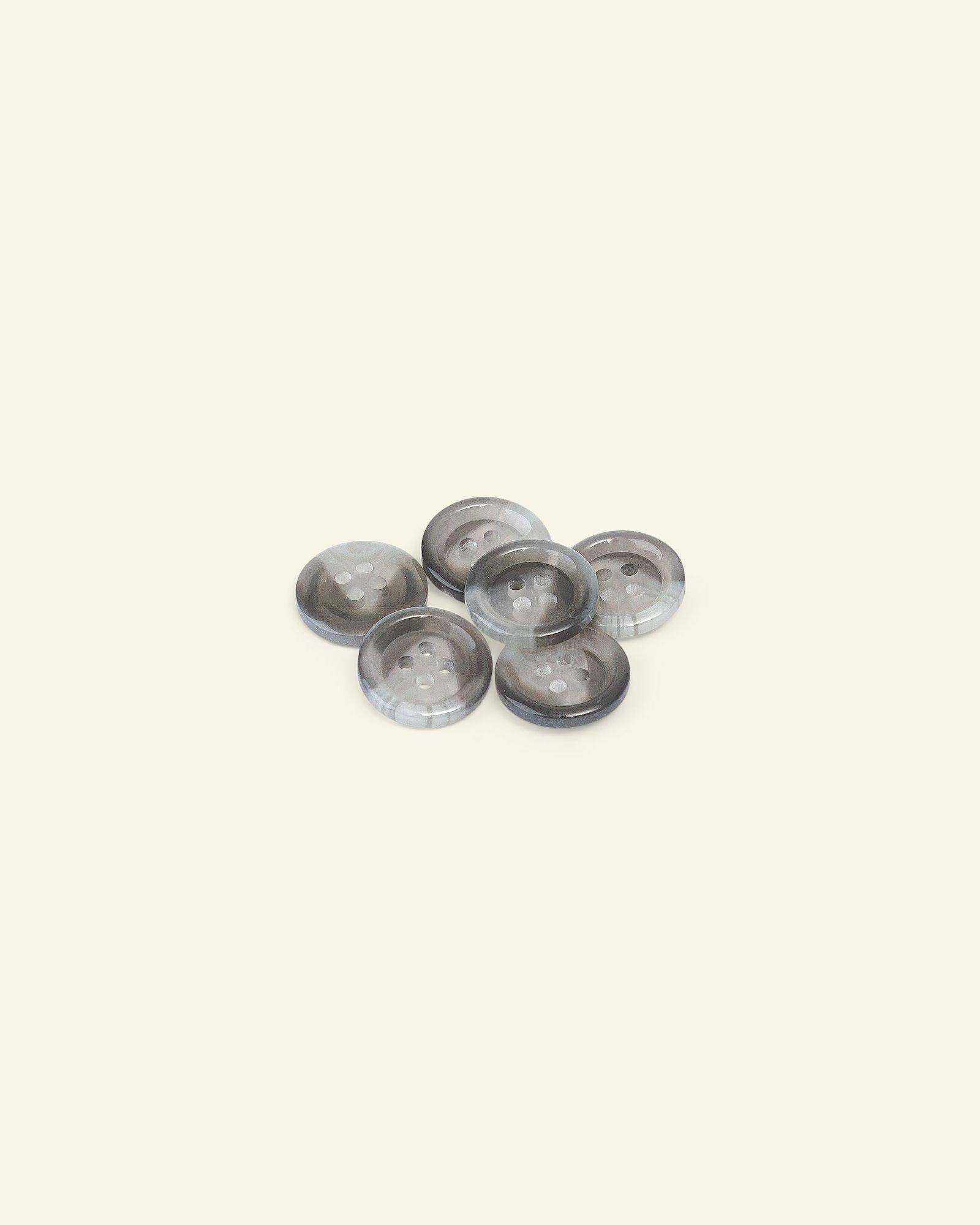 Button 4-holes w/rim 15mm grey 6pcs