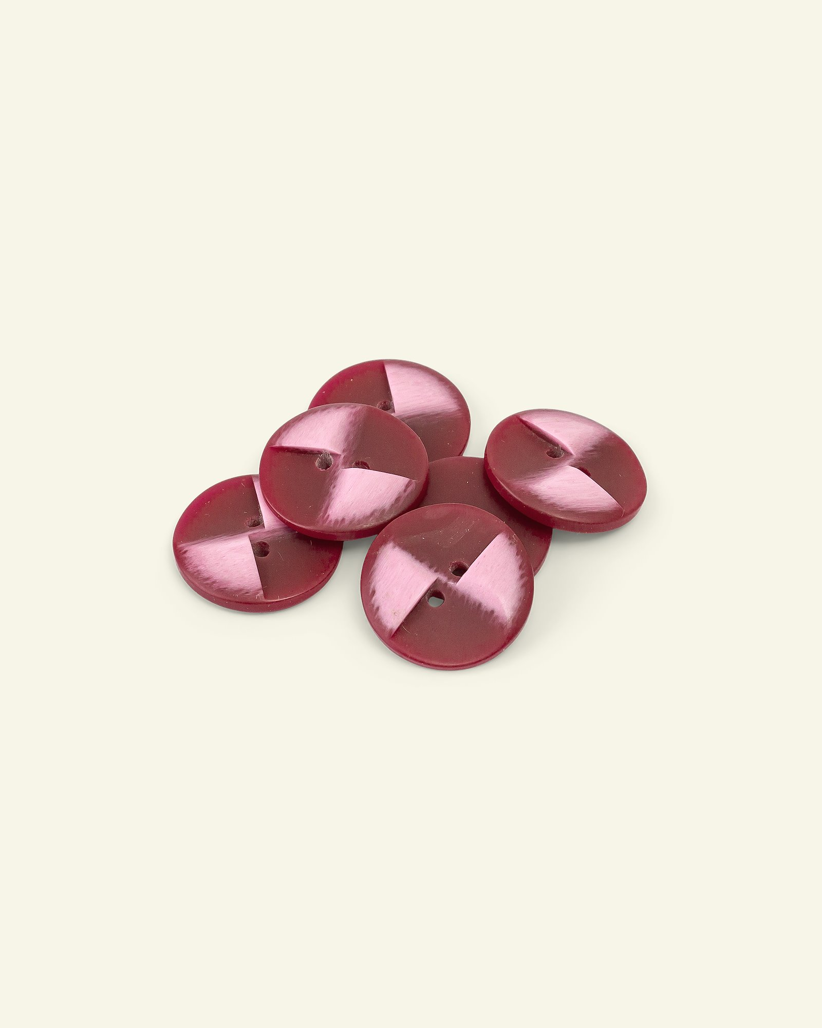 Button 2-holes 23mm red 6pcs