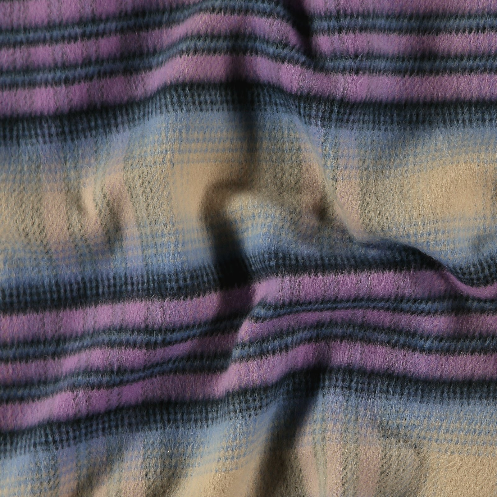 Woven YD check purple/blue brushed surfa