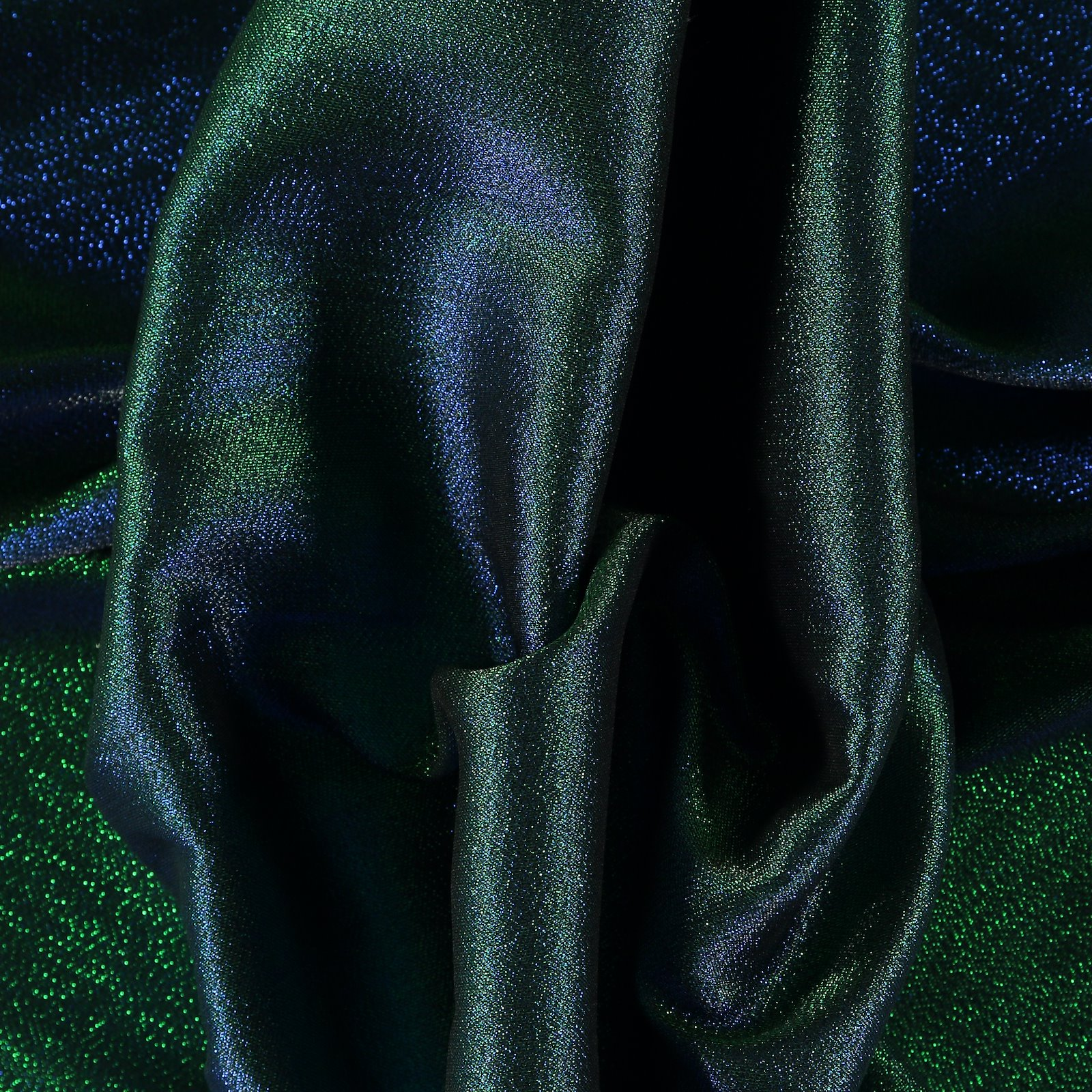 Woven jacquard with green/blue lurex