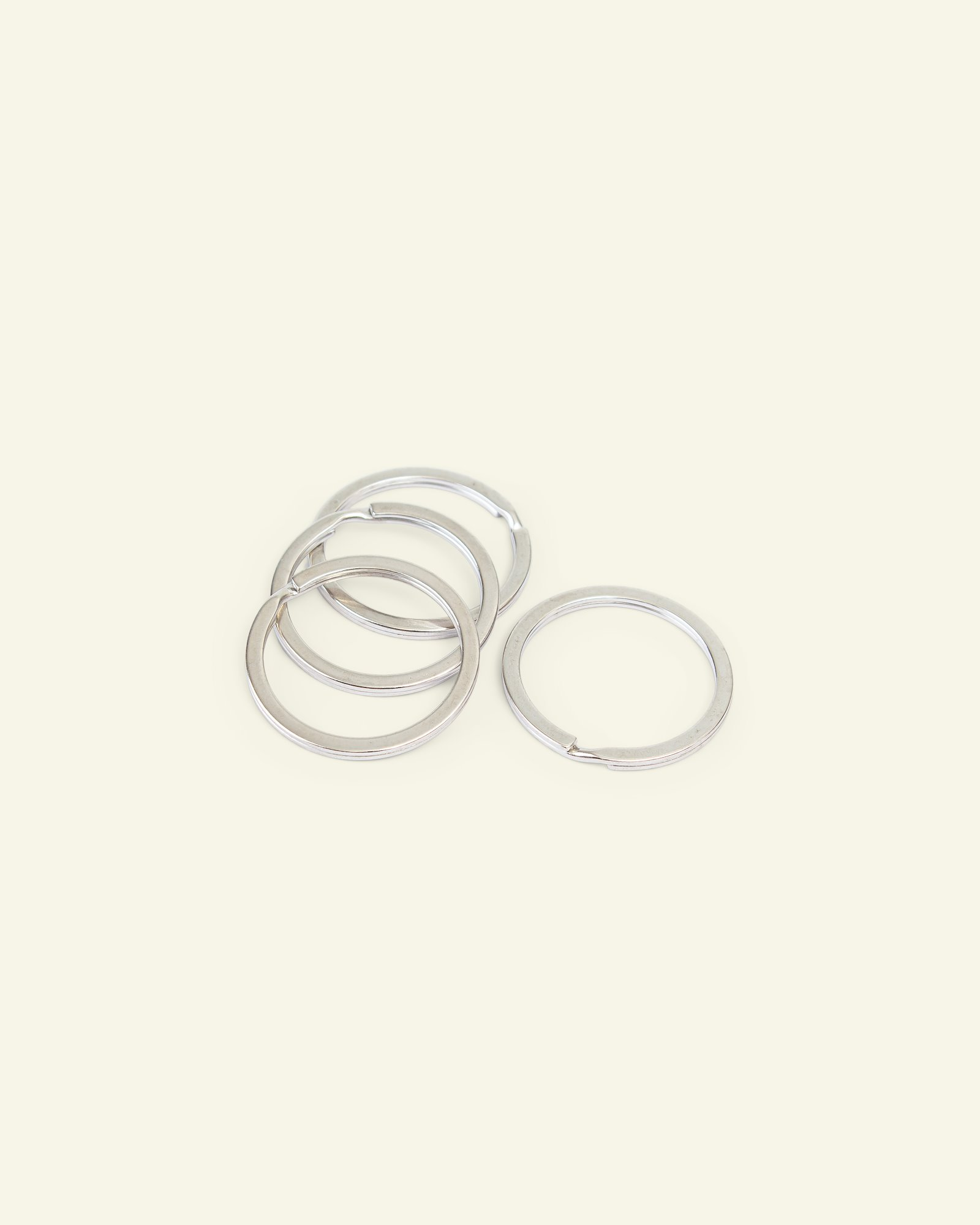 Key ring flat metal 30mm silver 4pcs