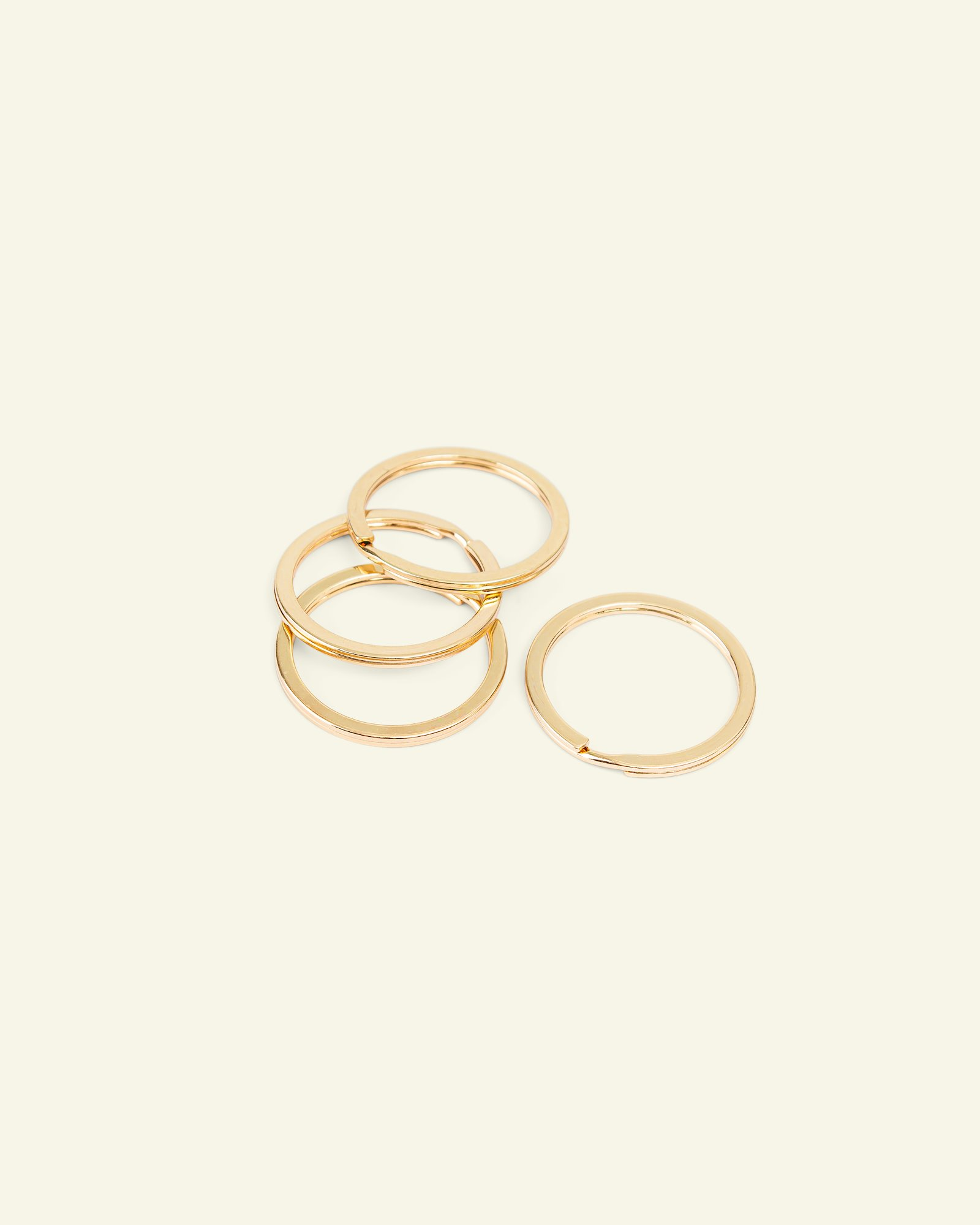 Key ring flat metal 30mm gold 4pcs