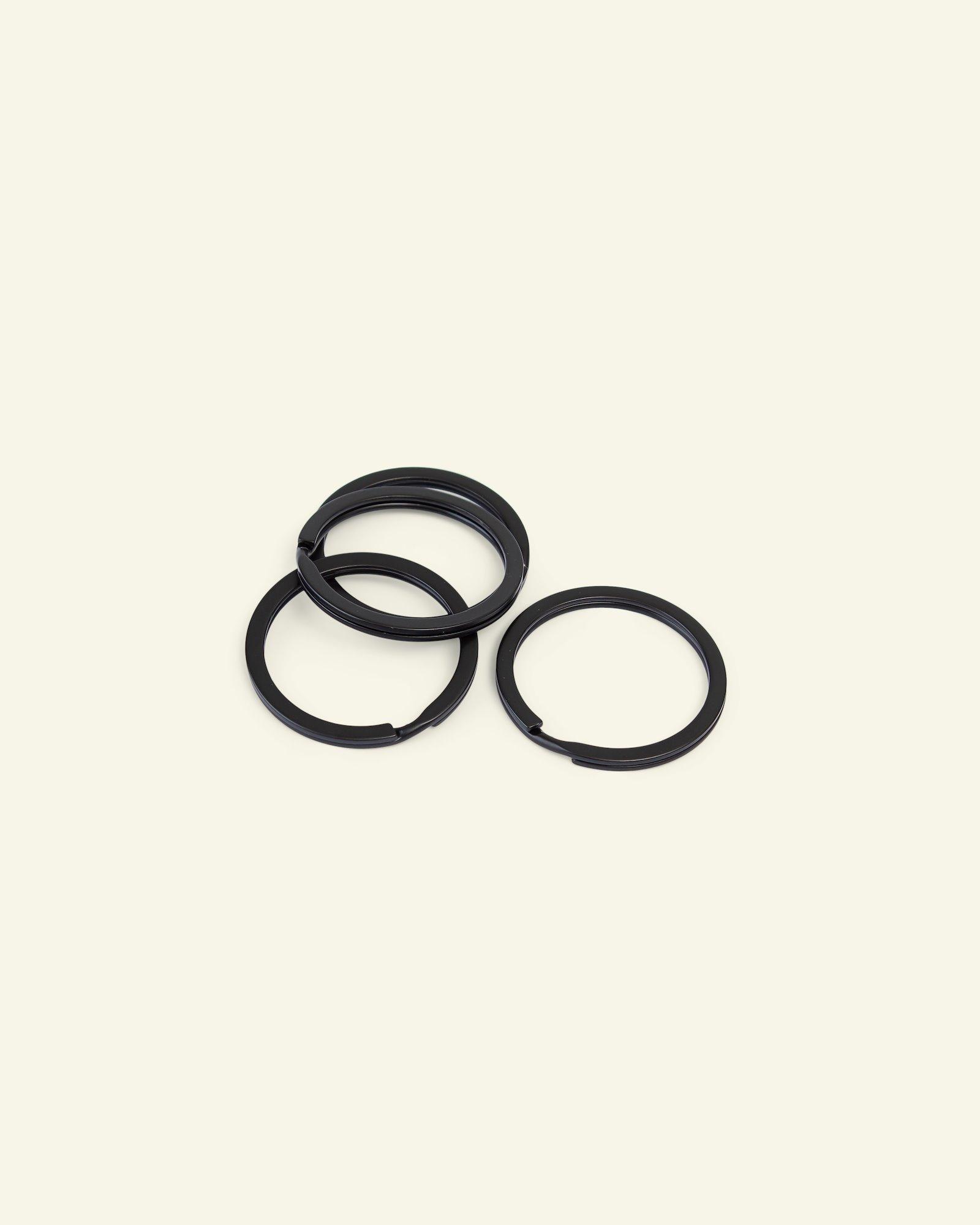 Key ring flat metal 30mm dull black 4pcs