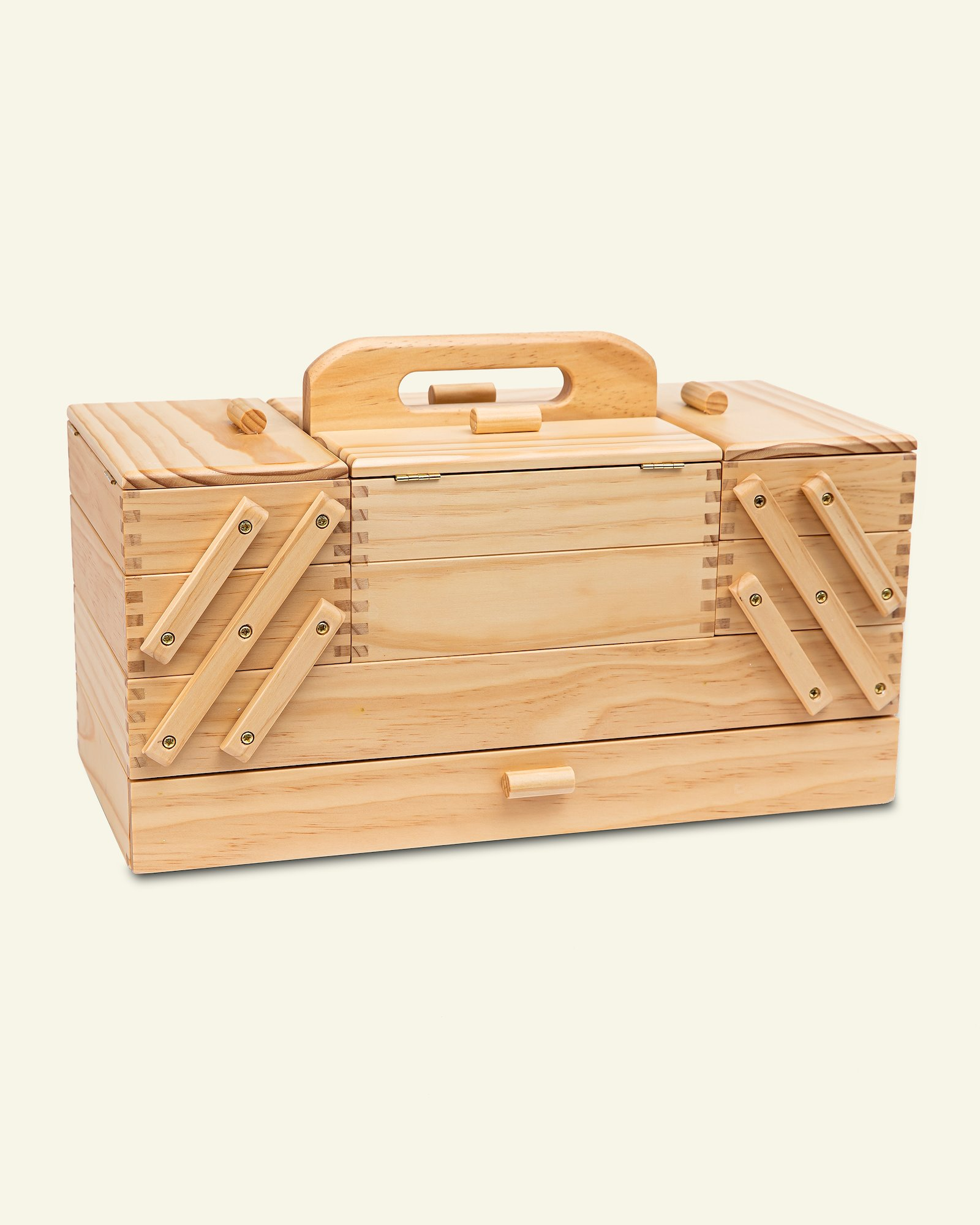 Sewing box pinewood lacquered 23x45x32cm