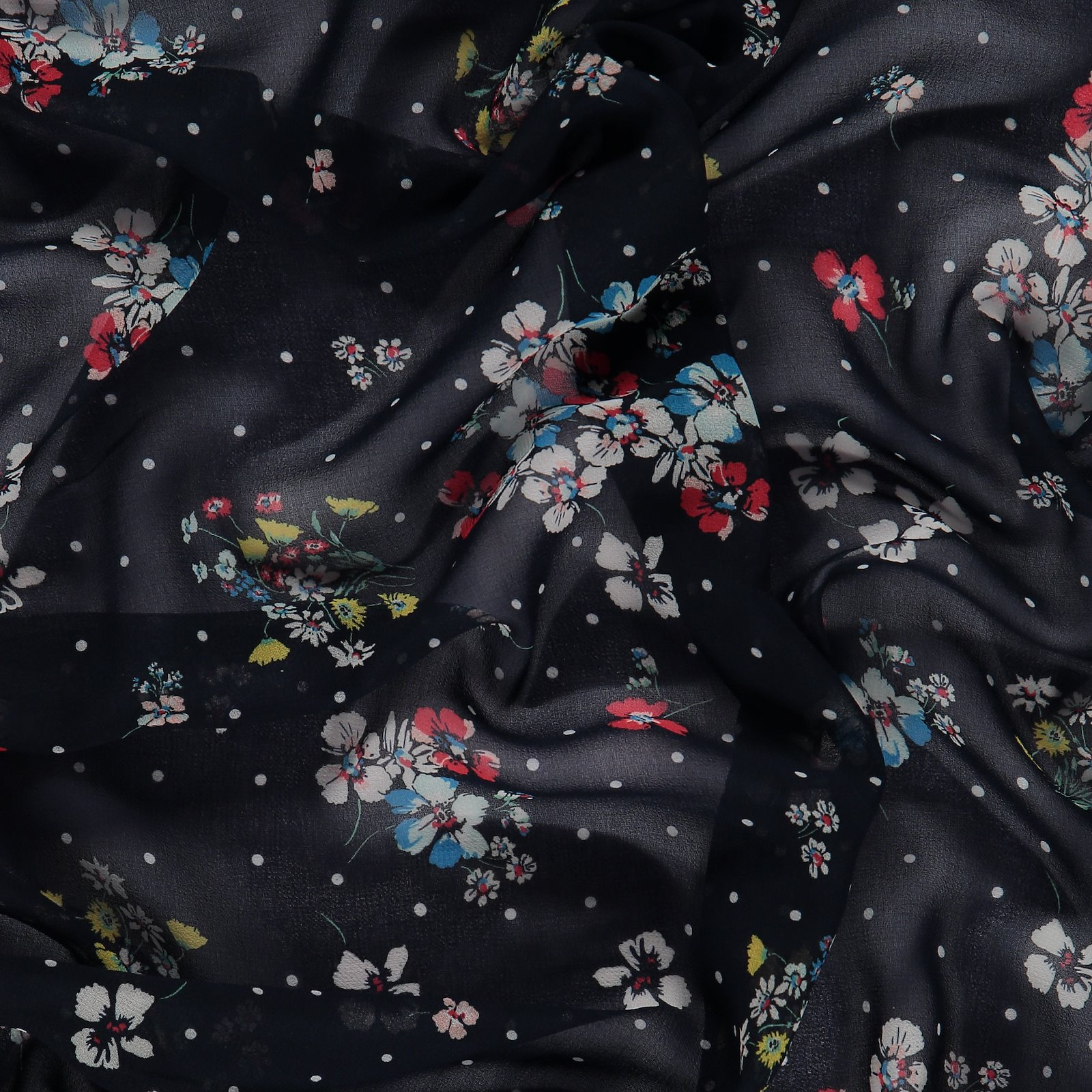 Woven polyester blue with flowers