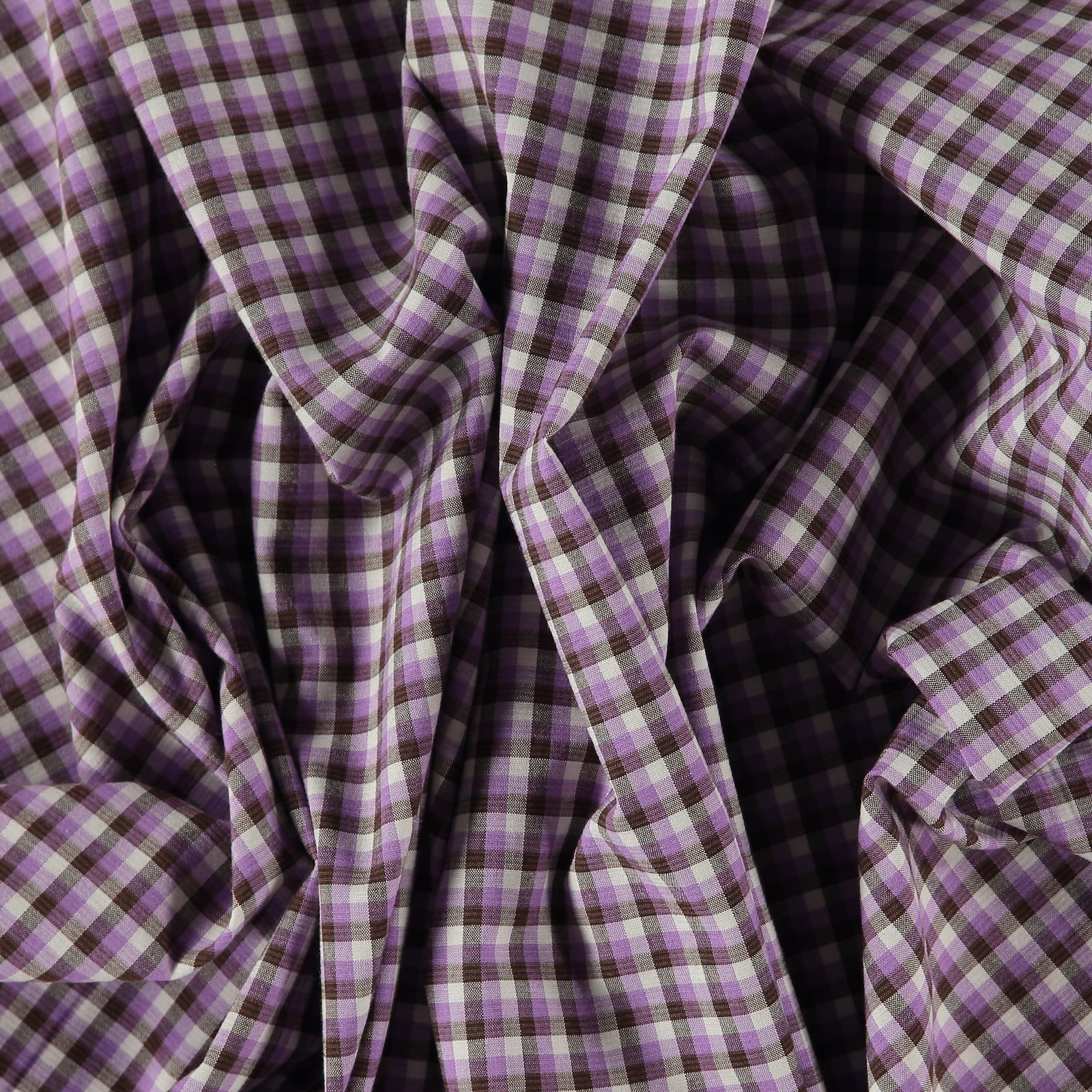 Woven YD check stretch purple/brown/sand