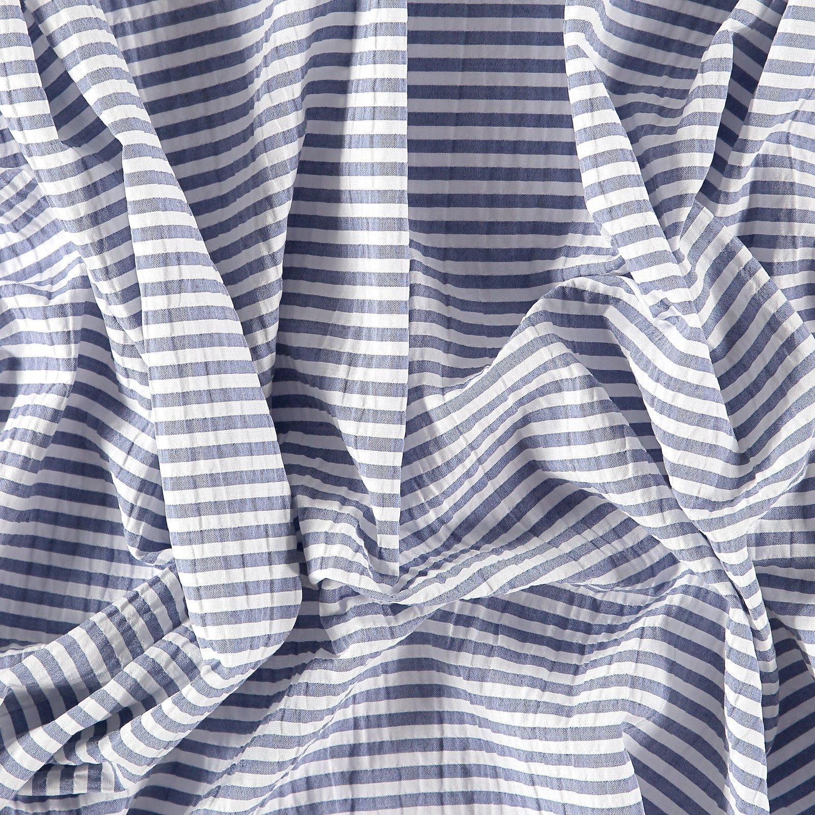 Seersucker dusty blue yarn dyed stripe