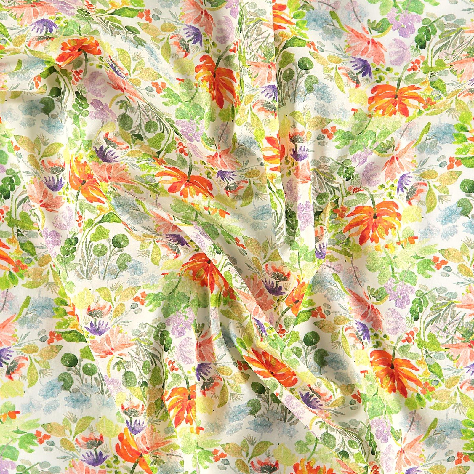 Baumwollpopeline, Weiß, farbige Blumen