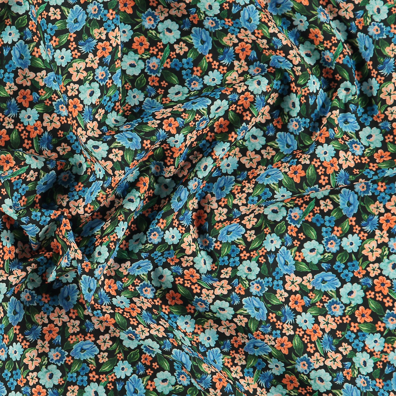 Baumwollpopeline, Navy, farbige Blumen