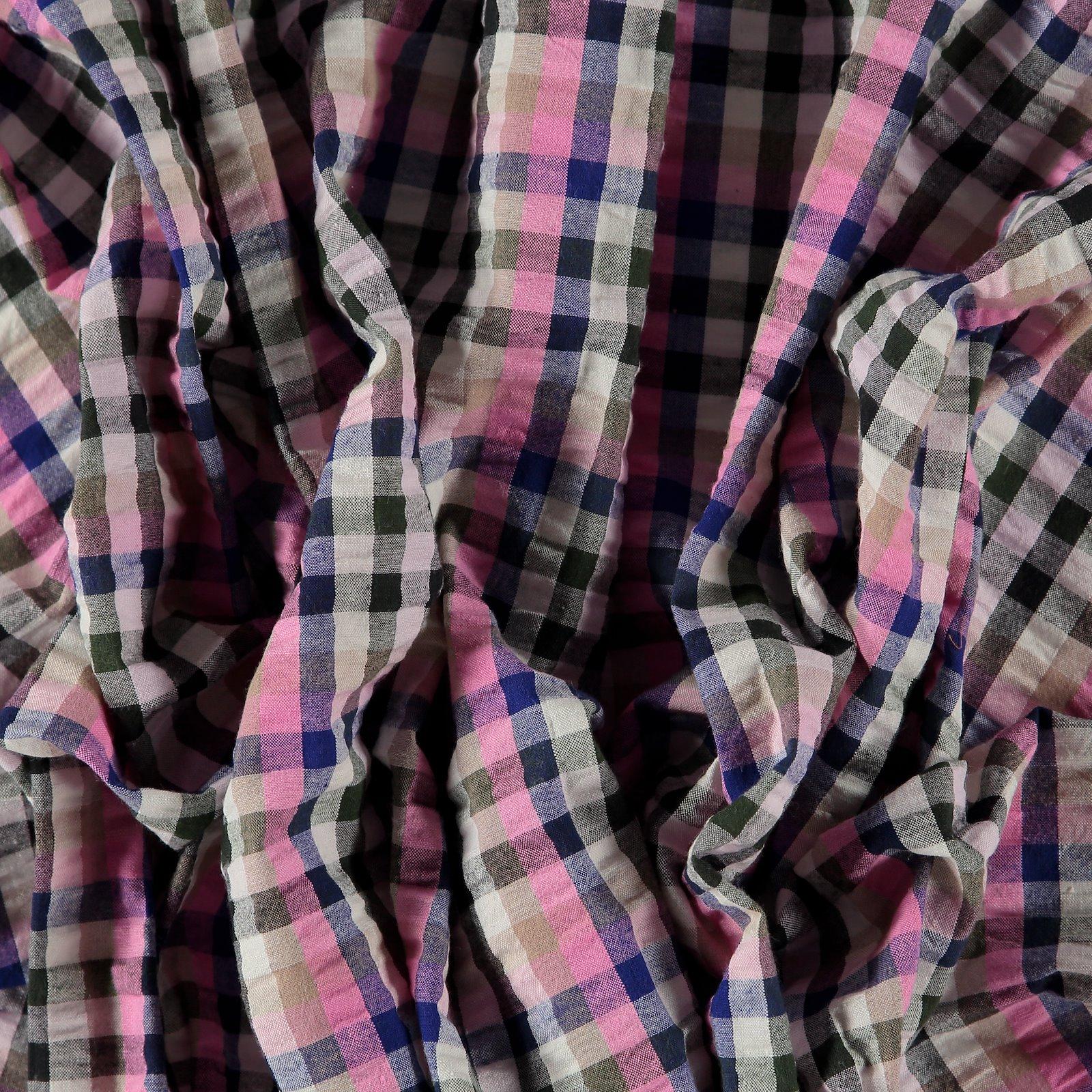 Seersucker pink/sand yarn dyed check