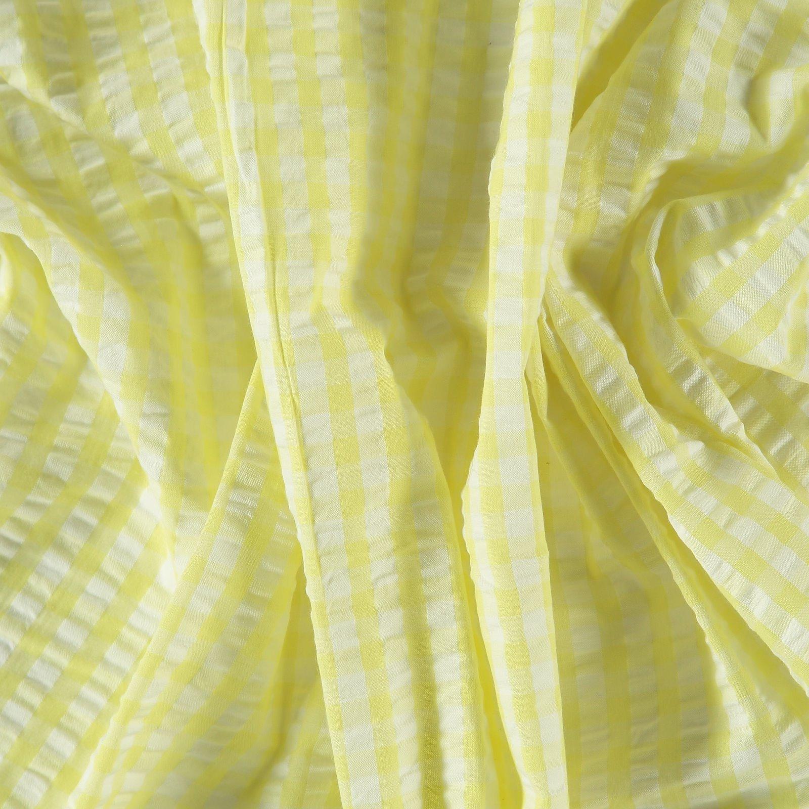 Organic seersucker lemon/white check