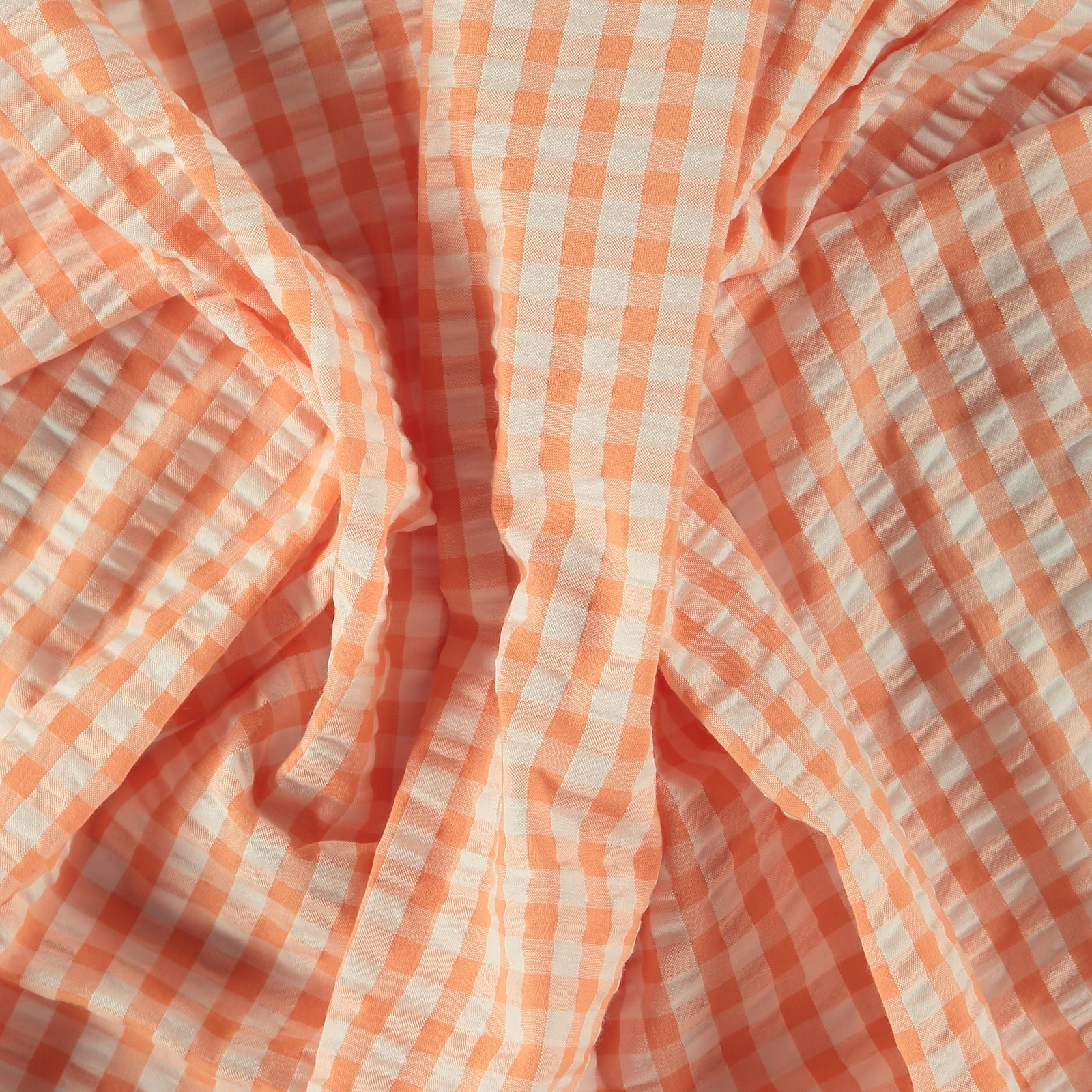 Organic seersucker peach/white check