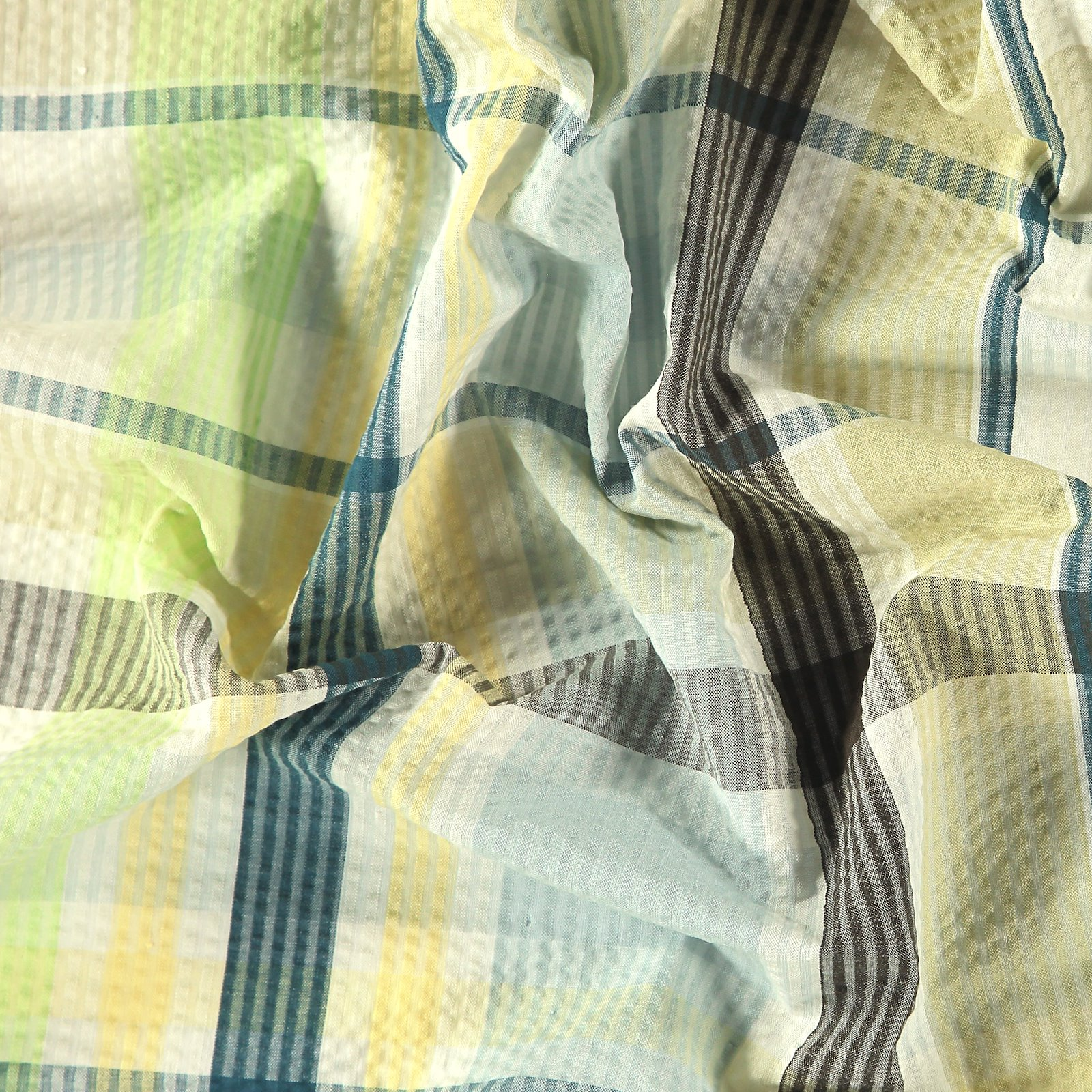Seersucker blue/green yarn dyed check
