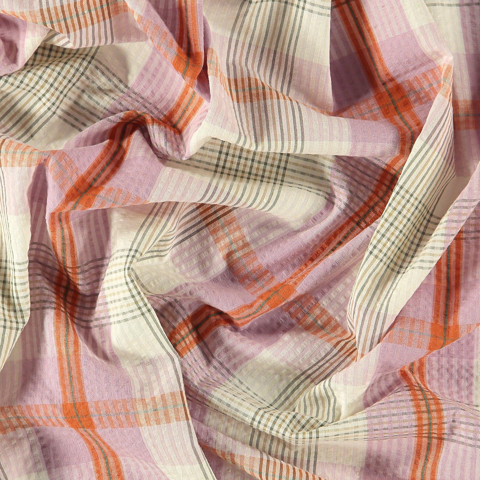 Seersucker orange/pink yarn dyed check