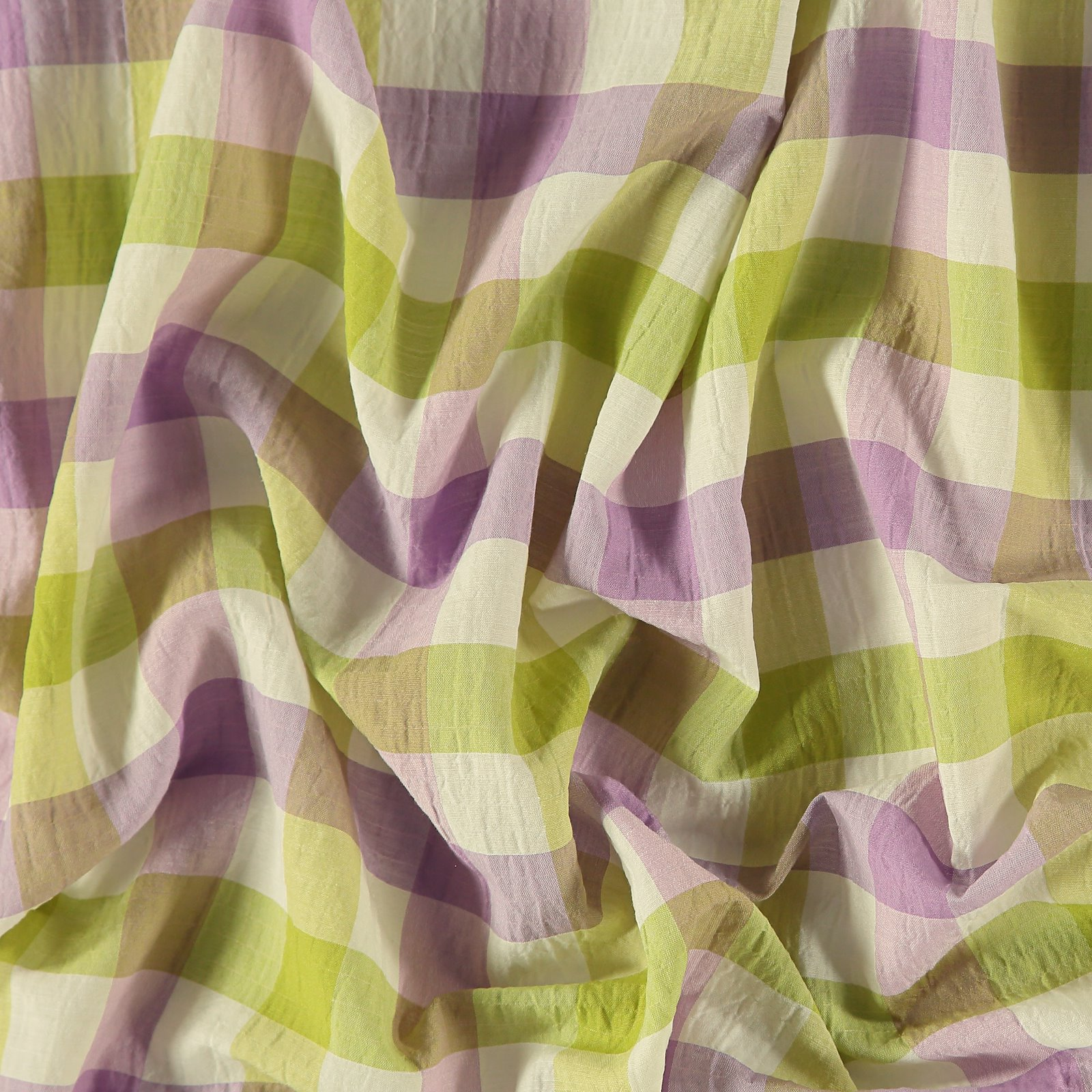 Seersucker bright lavender/lime YD check