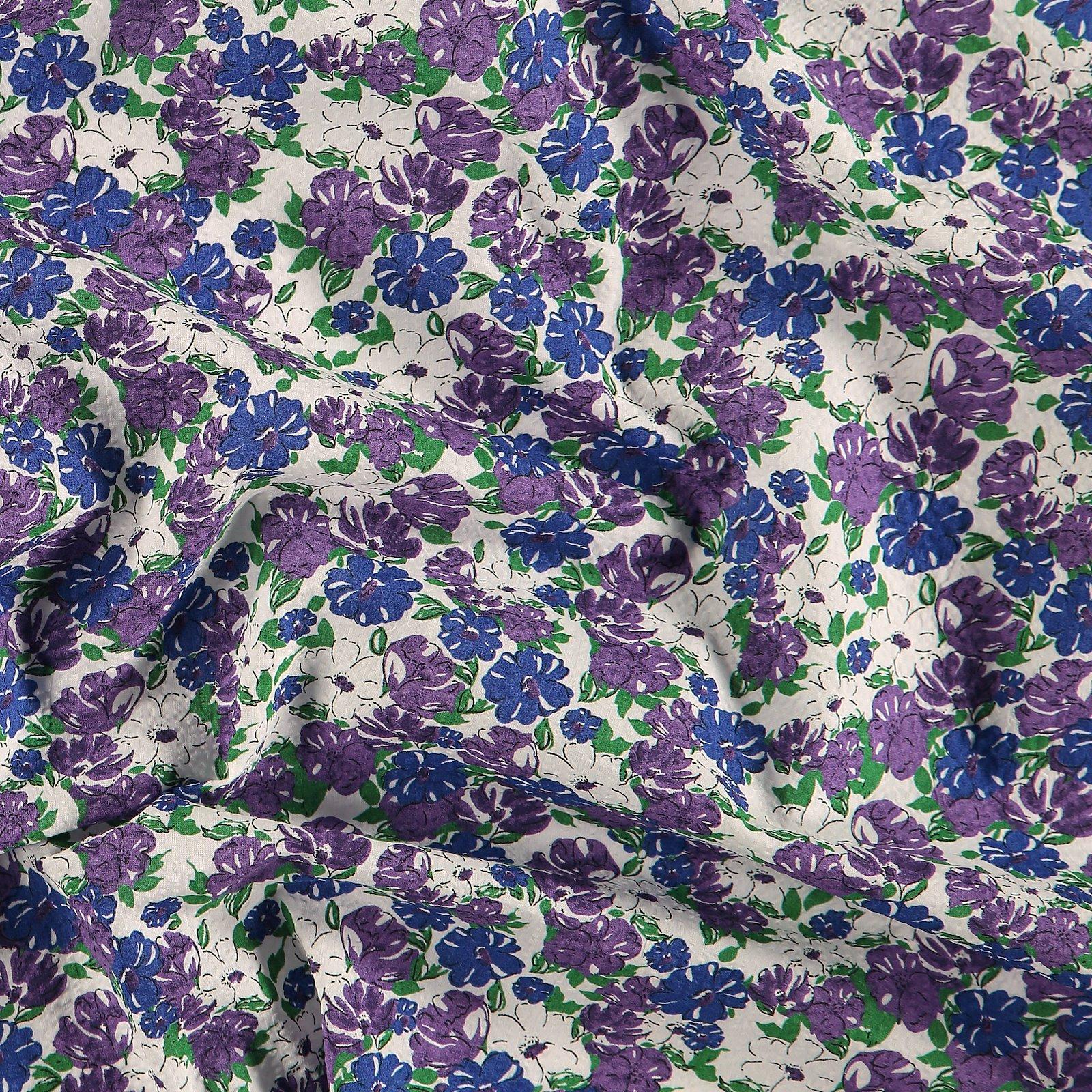 Seersucker white with blue/purple flower