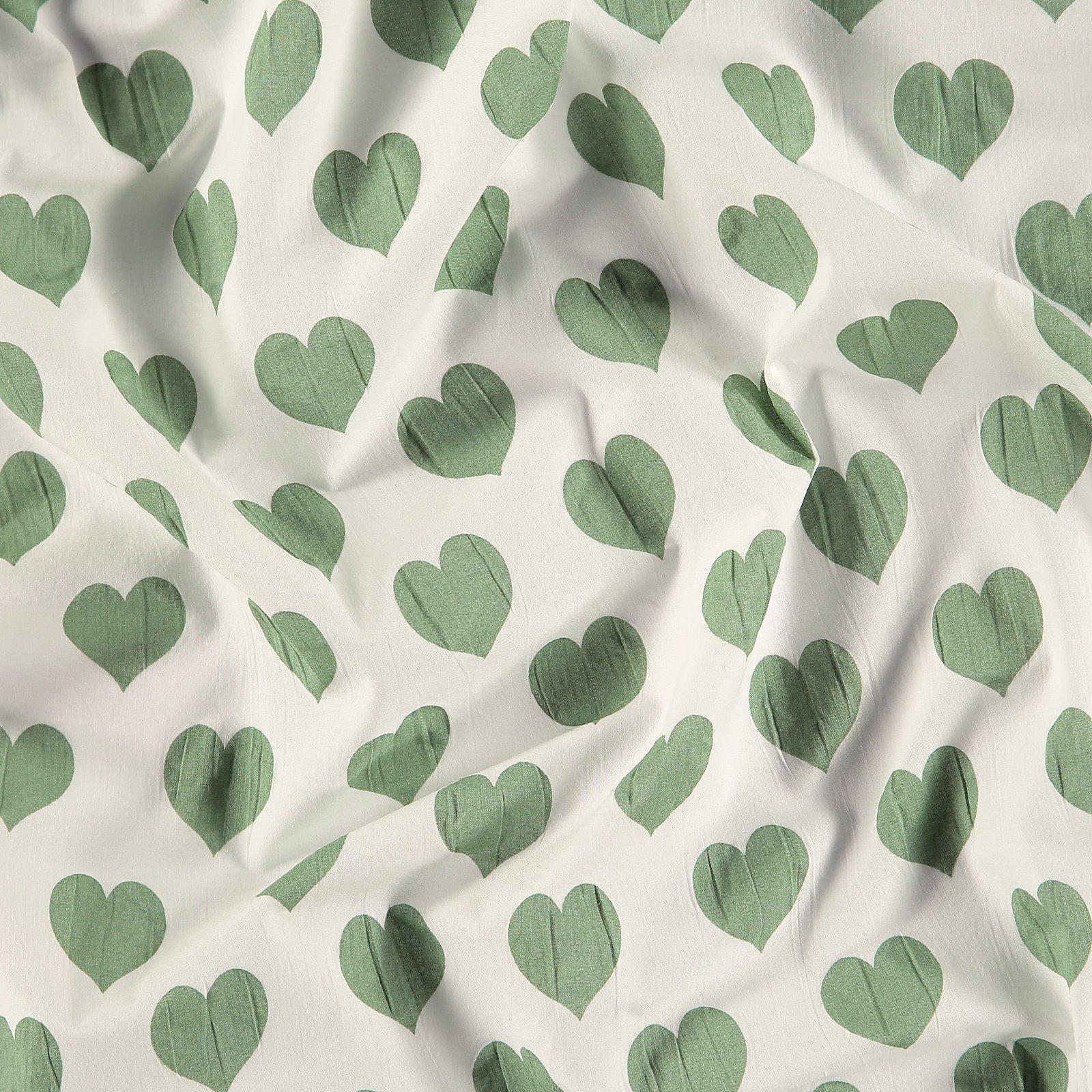 Seersucker white with mint hearts