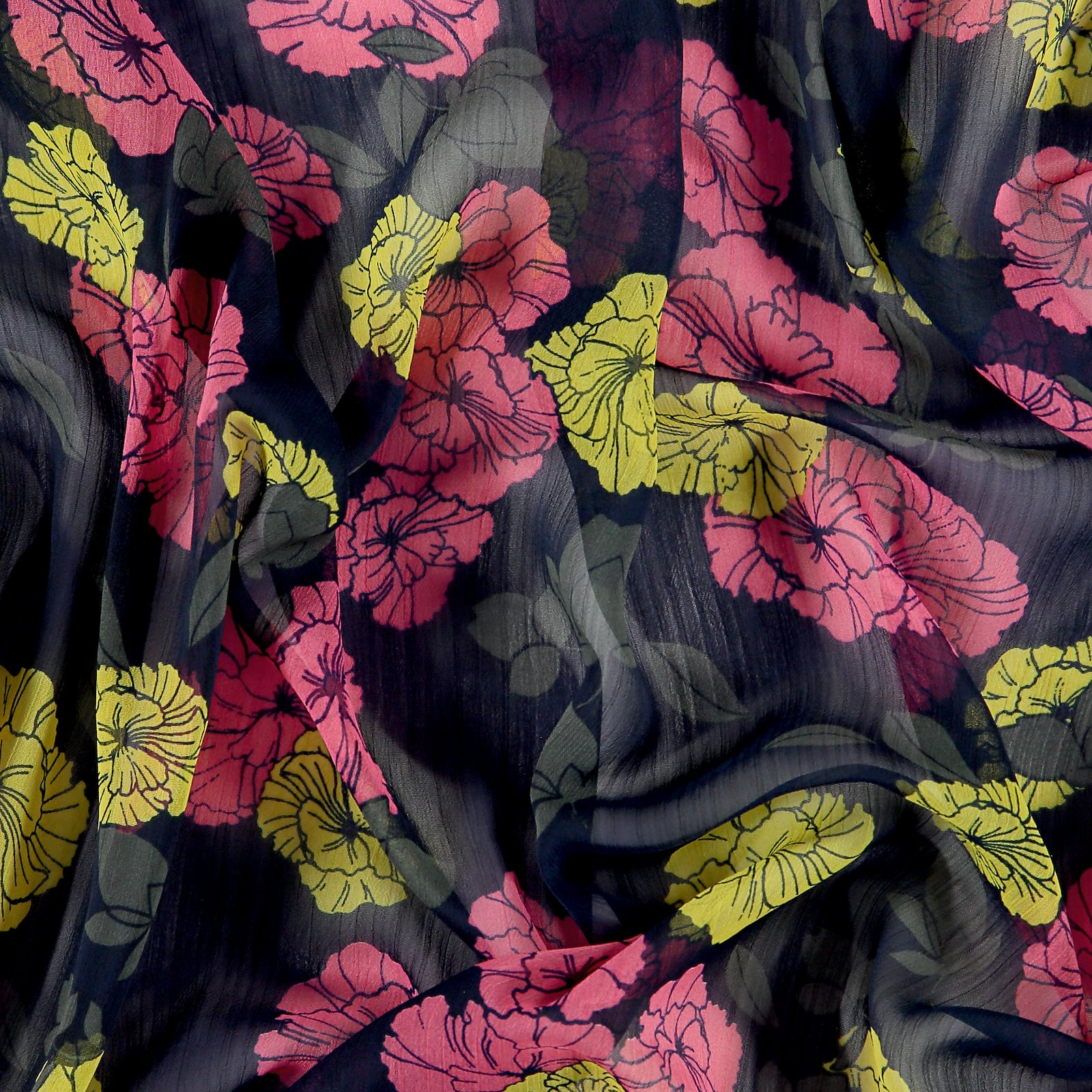 Chiffon navy with pink/yellow flowers