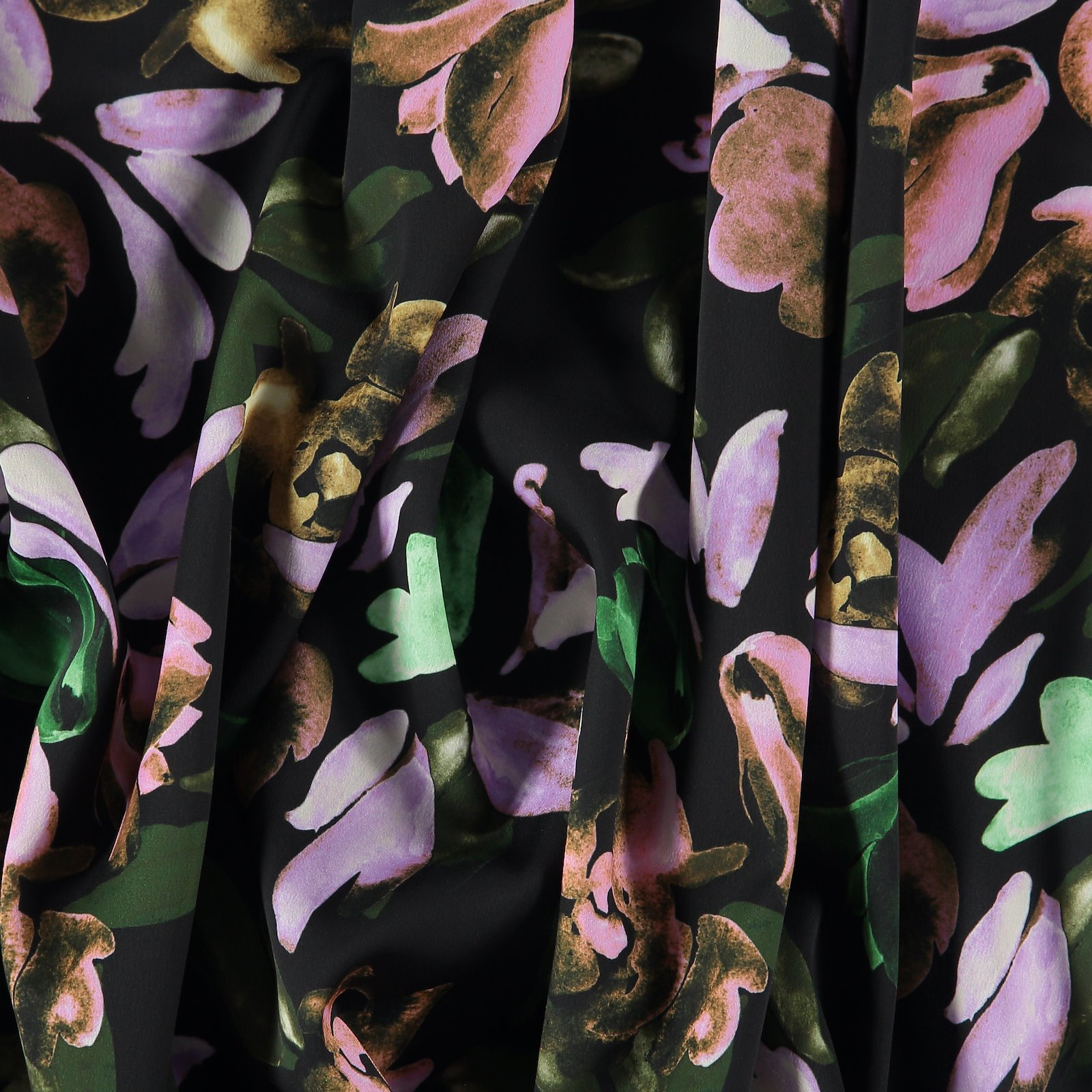 Crepe satin black with flowers