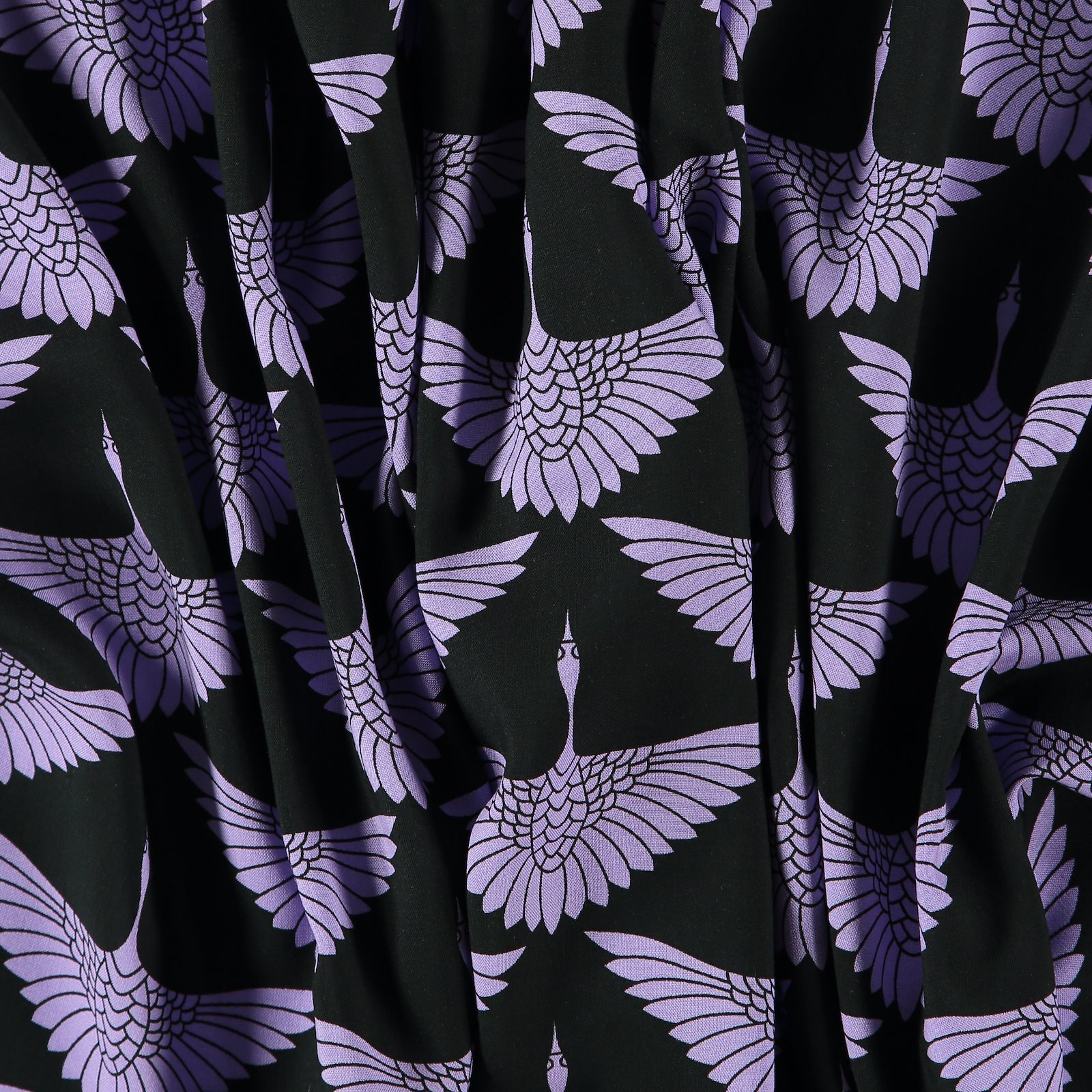 Woven viscose black with purple crane