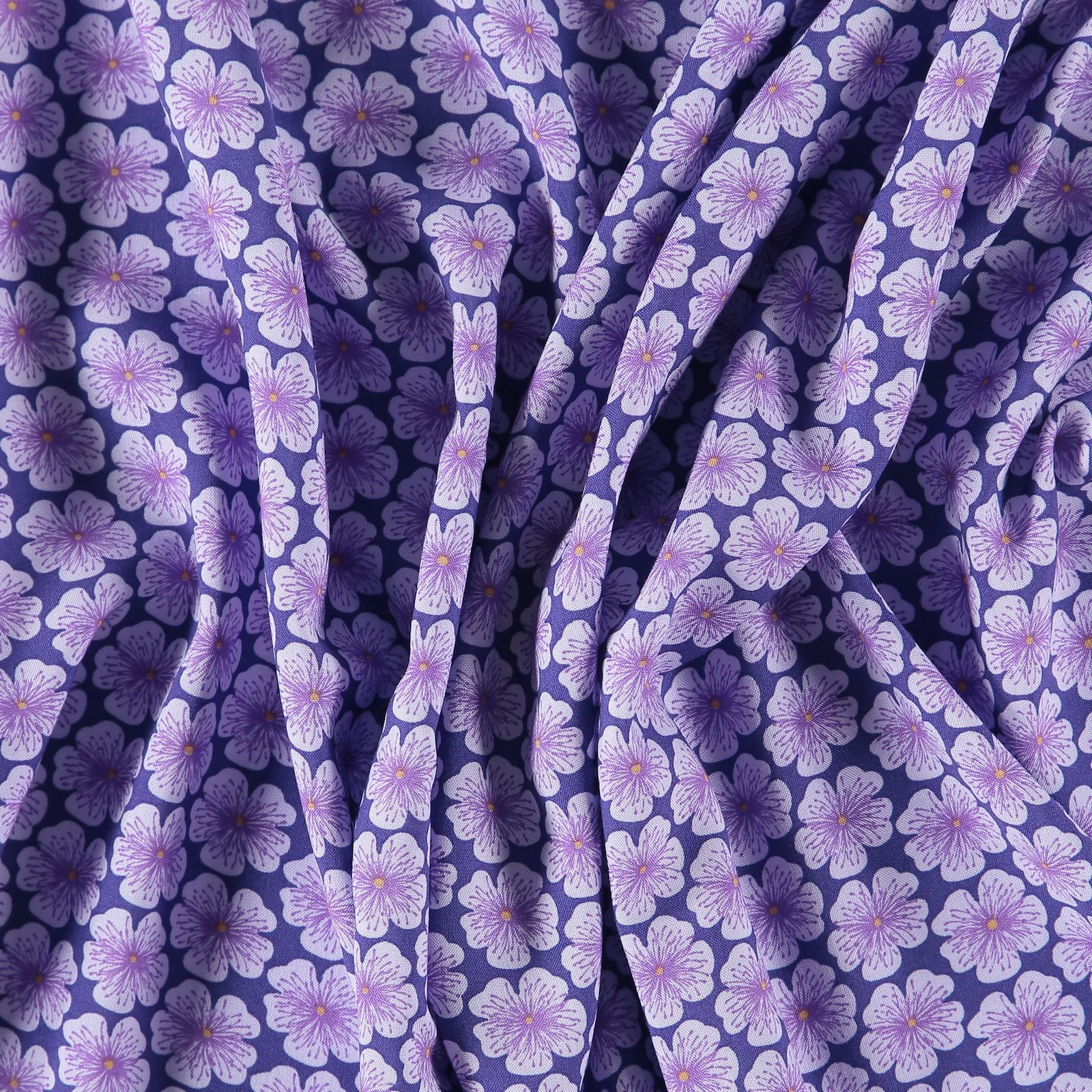 Woven viscose purple with flowers