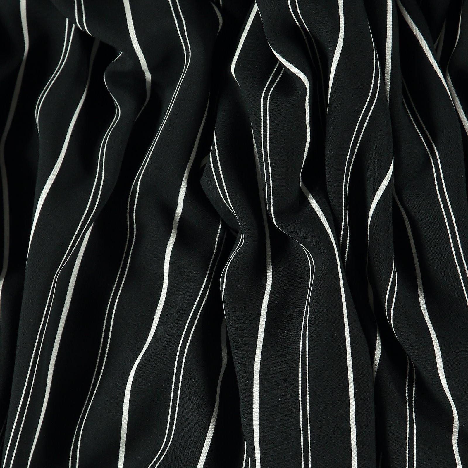Woven viscose black with white stripes