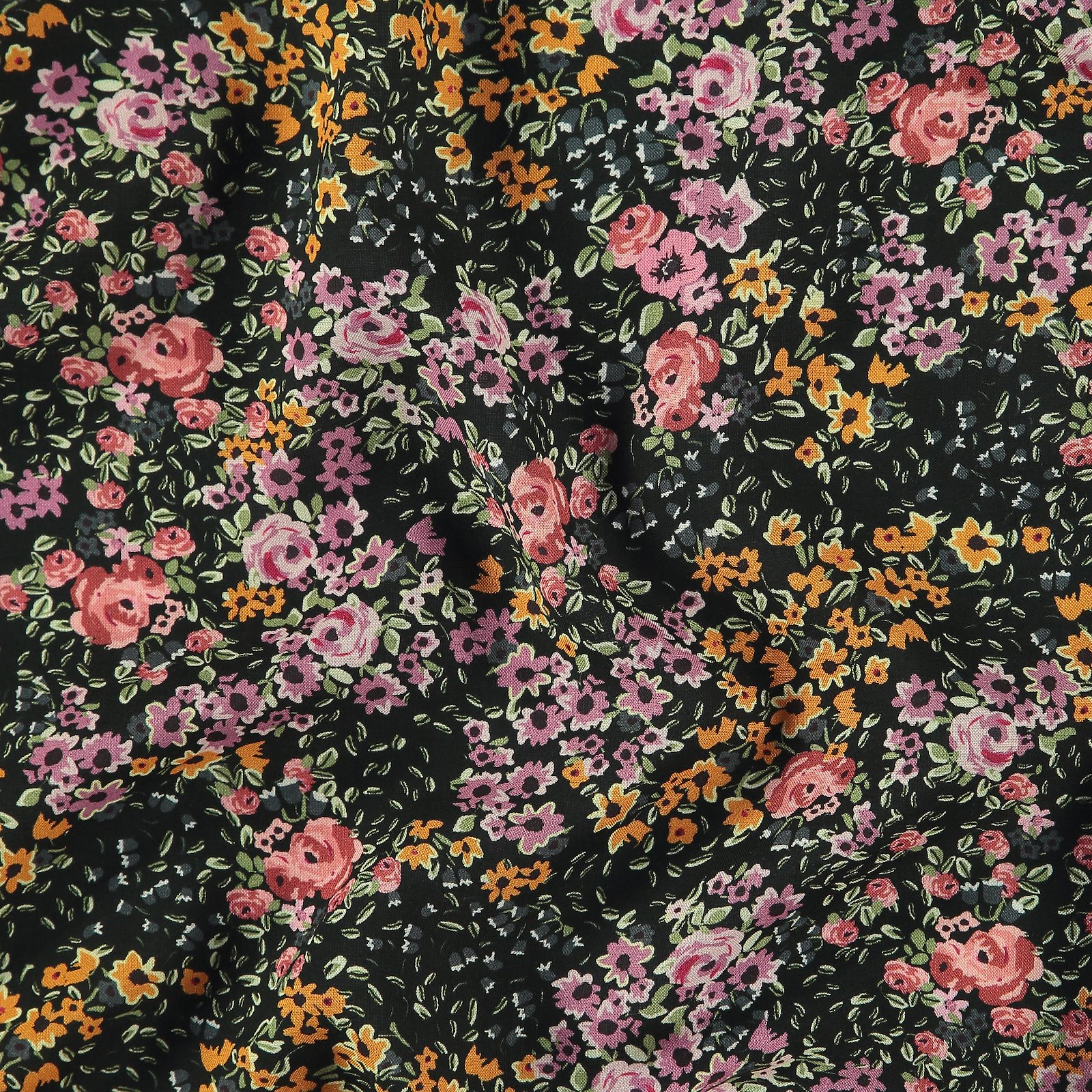 Woven viscose black with purple flowers