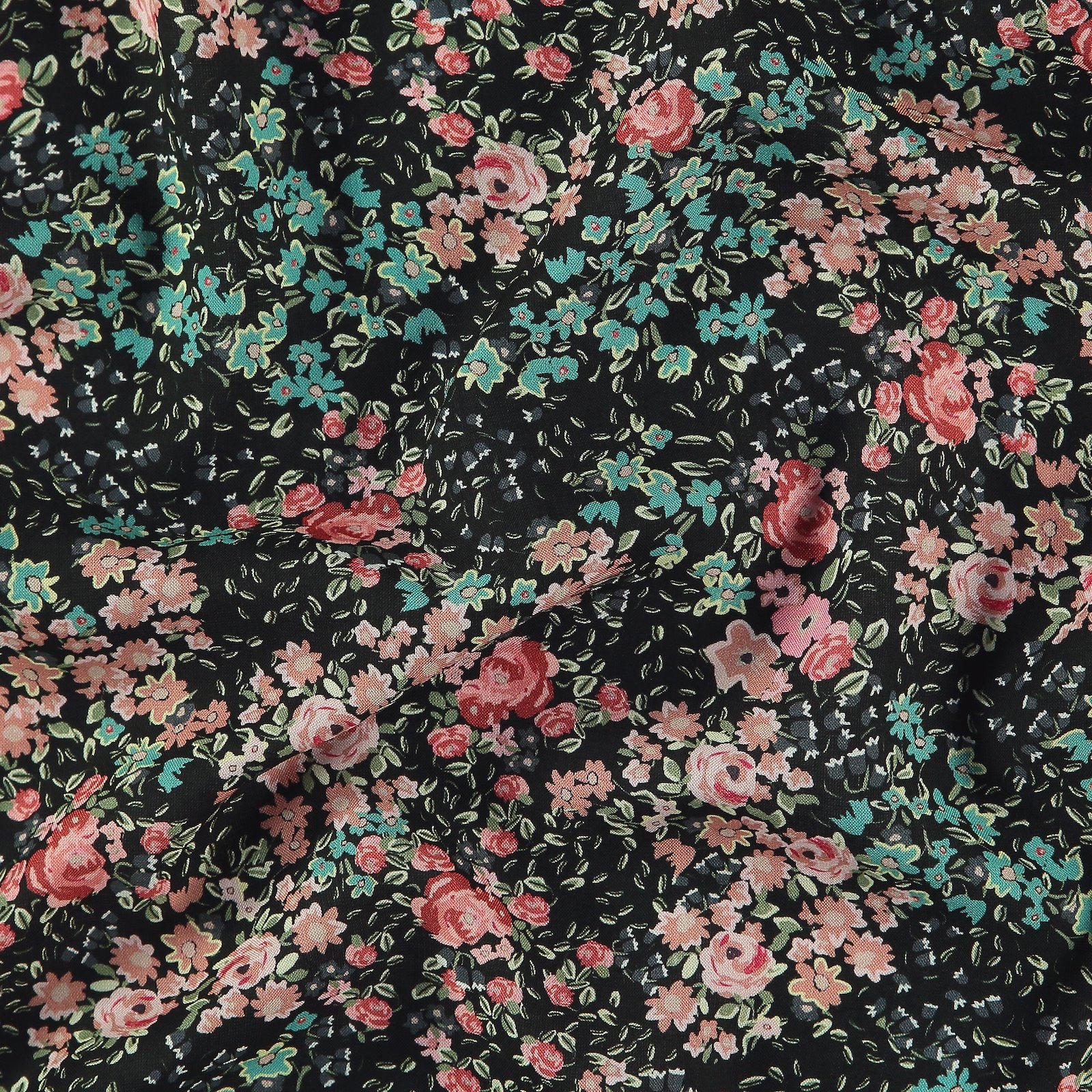 Woven viscose black with rose flowers