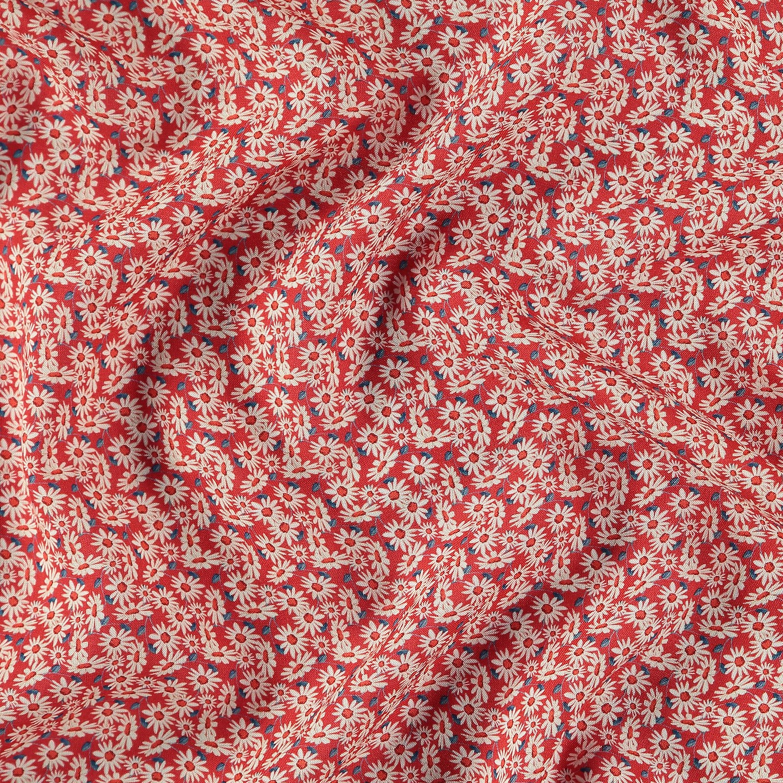 Woven viscose red with white flowers